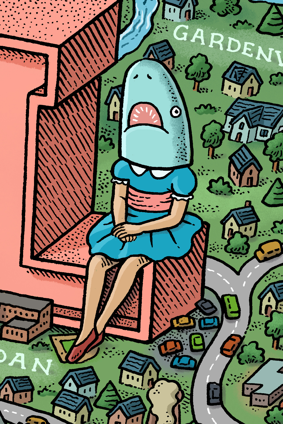 """Casey Riordan Millard's buzzworthy """"Shark Girl"""" sculpture features prominently in Mario Zucca's playful map of the City of Buffalo."""