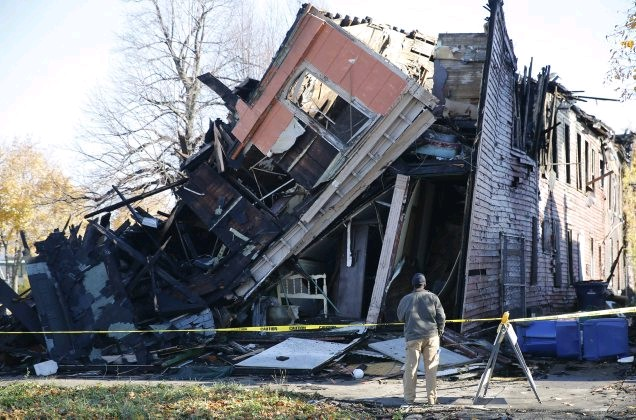 Fire ravaged a former rooming house at Fillmore Avenue and Paderewski Drive in 2015. Broadway-Fillmore Neighborhood Housing Services has a new plan for the site. (Derek Gee/ Buffalo News file photo)