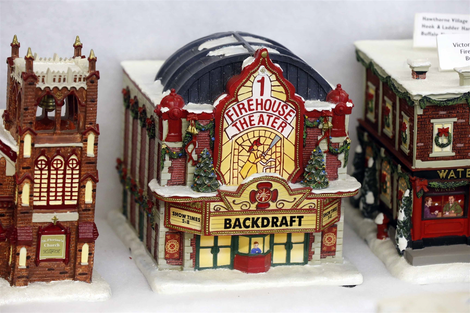 This miniature ceramic firehouse is made to look like a movie theater. (Robert Kirkham/Buffalo News)