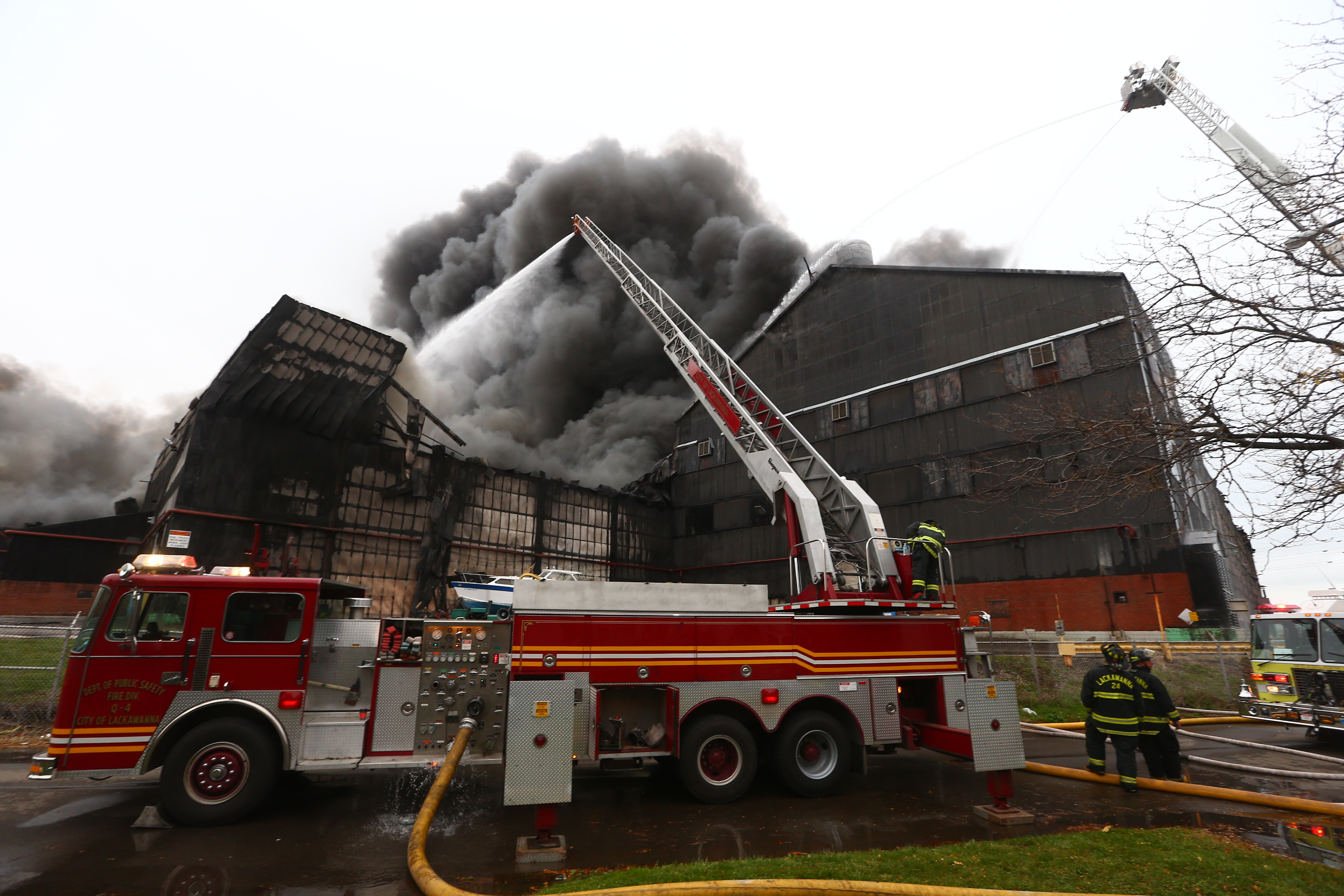 A fire rages at former Bethlehem Steel storage along Route 5 in Lackawanna on Wednesday, Nov. 9, 2016. (John Hickey/Buffalo News)
