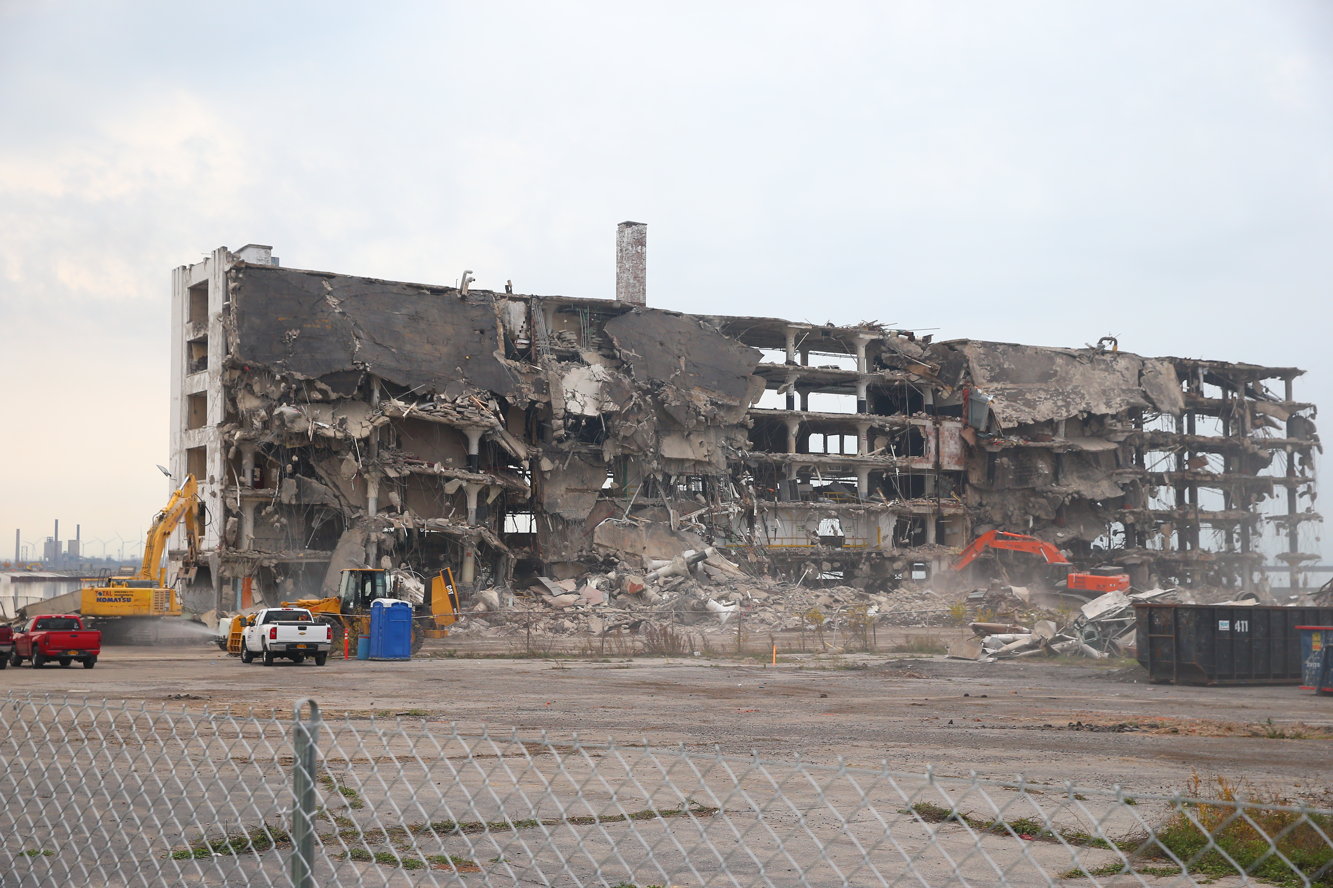 A view of demolition work at the former Freezer Queen building a few days before a section of concrete wall collapsed into Lake Erie. (John Hickey/Buffalo News file photo)