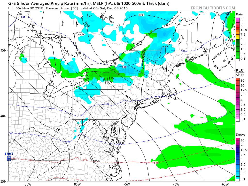 Rain will likely fall across the lower elevations, while snow is forecast in the higher terrain. (TropicalTidbits.com)