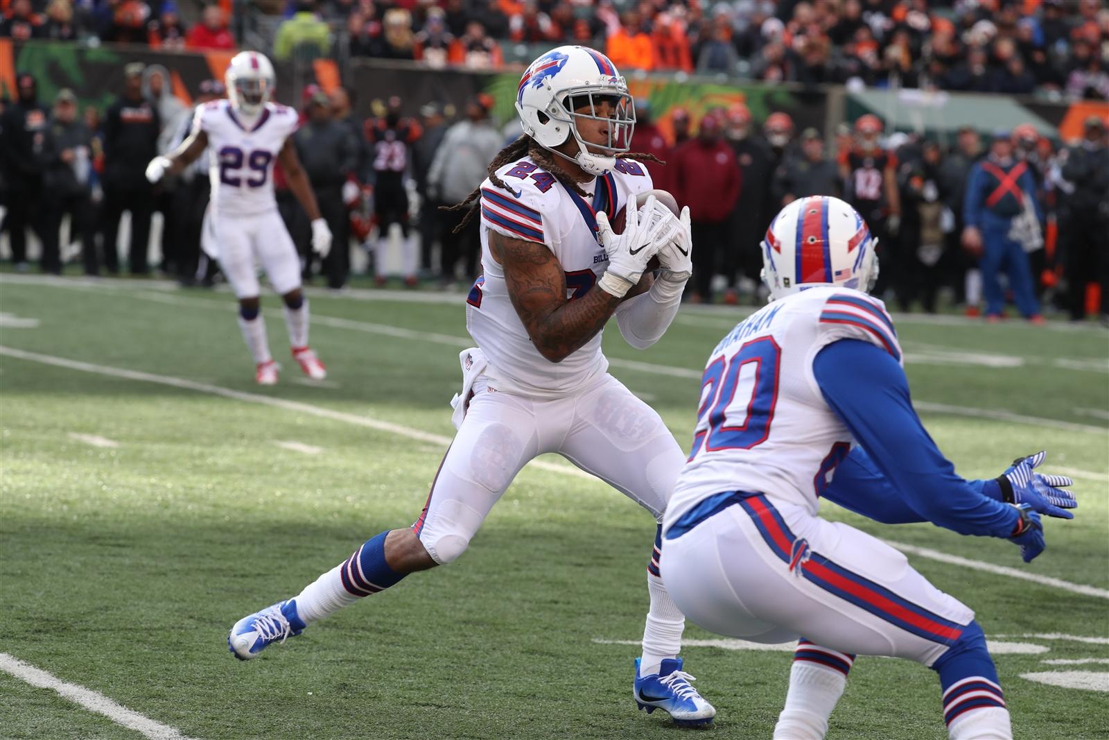 Bills cornerback Stephon Gilmore makes an interception against the Bengals. (James P. McCoy/Buffalo News)
