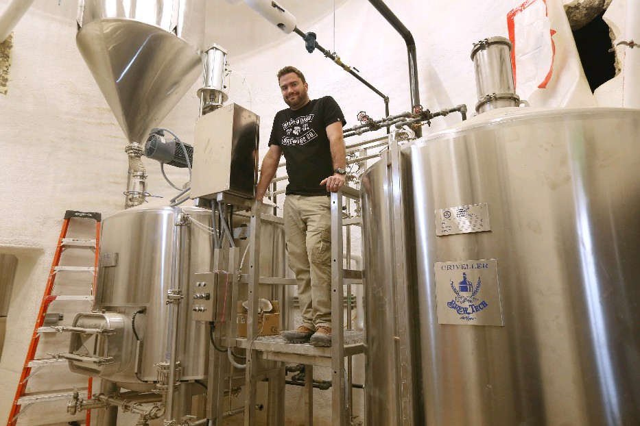 Chris Herr in the RiverWorks brewhouse.
