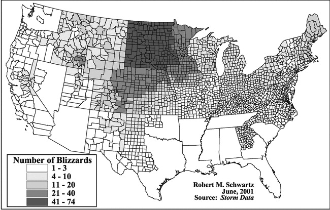 "(Graphic from ""Climatology of Blizzards in the Conterminous United States, 1959–2000"")"