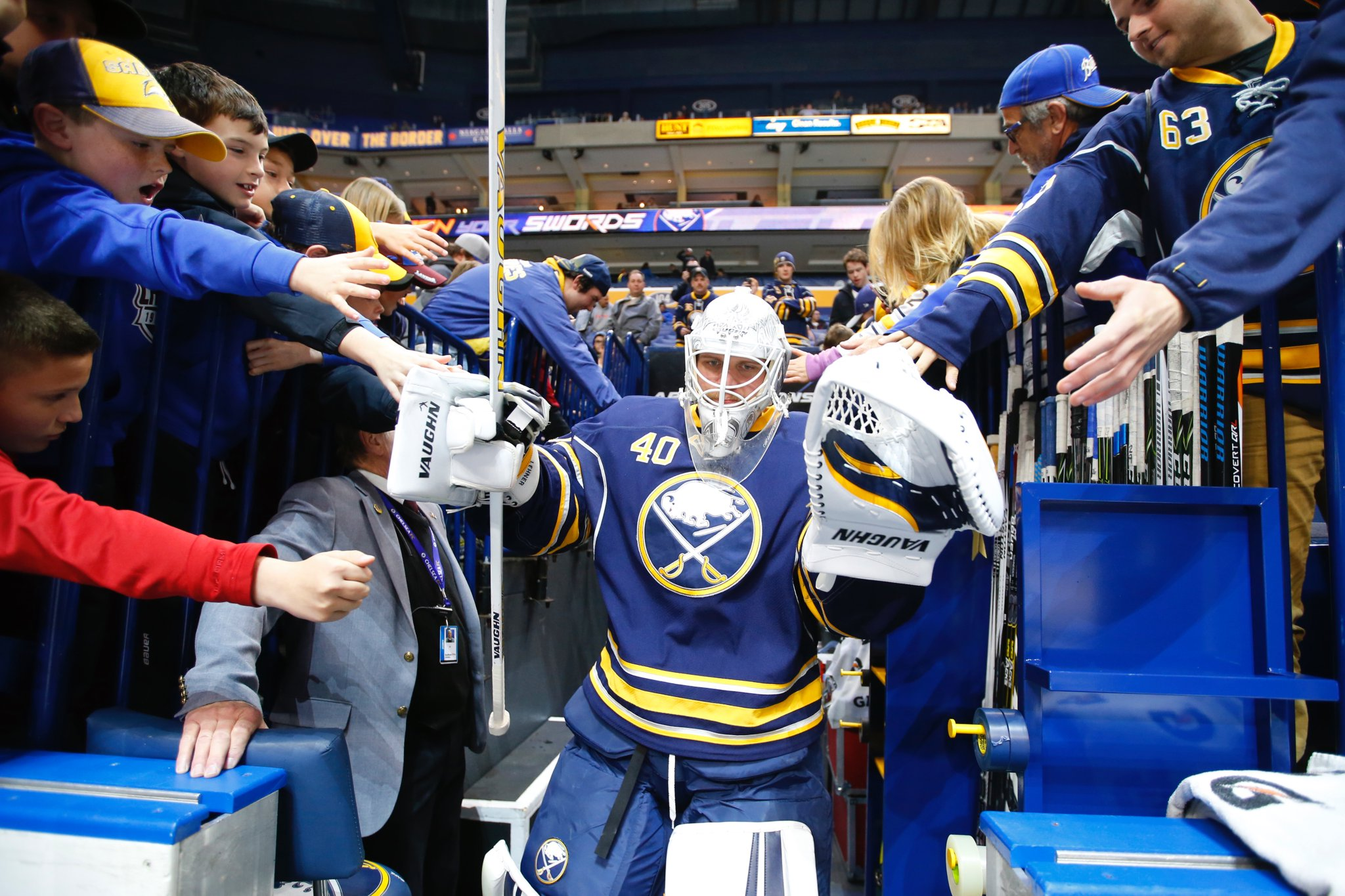 Robin Lehner leads the Sabres onto the ice for the game against the Flames. (Harry Scull Jr./Buffalo News)