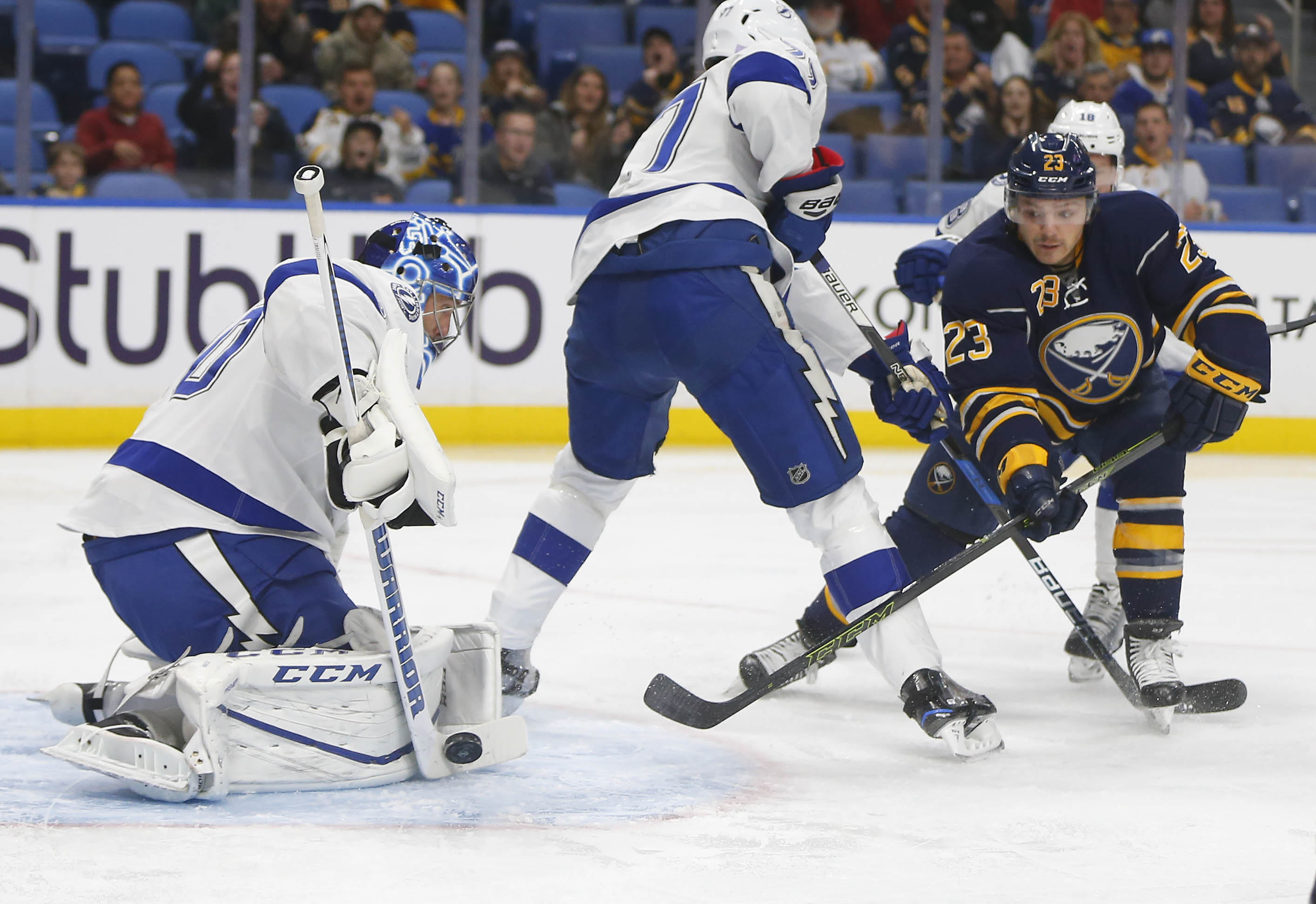Ben Bishop made 32 saves for Tampa Bay. (Mark Mulville/Buffalo News)