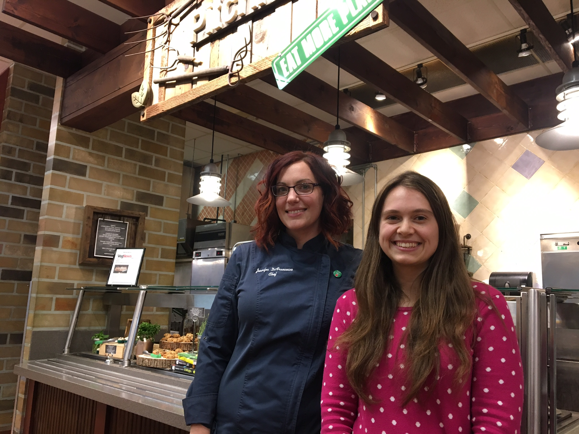 Canisius dining chef Jennifer DiFrancesco and Veg Club President Marissa Mykietyn were among those who put together the Pitchforks concept.