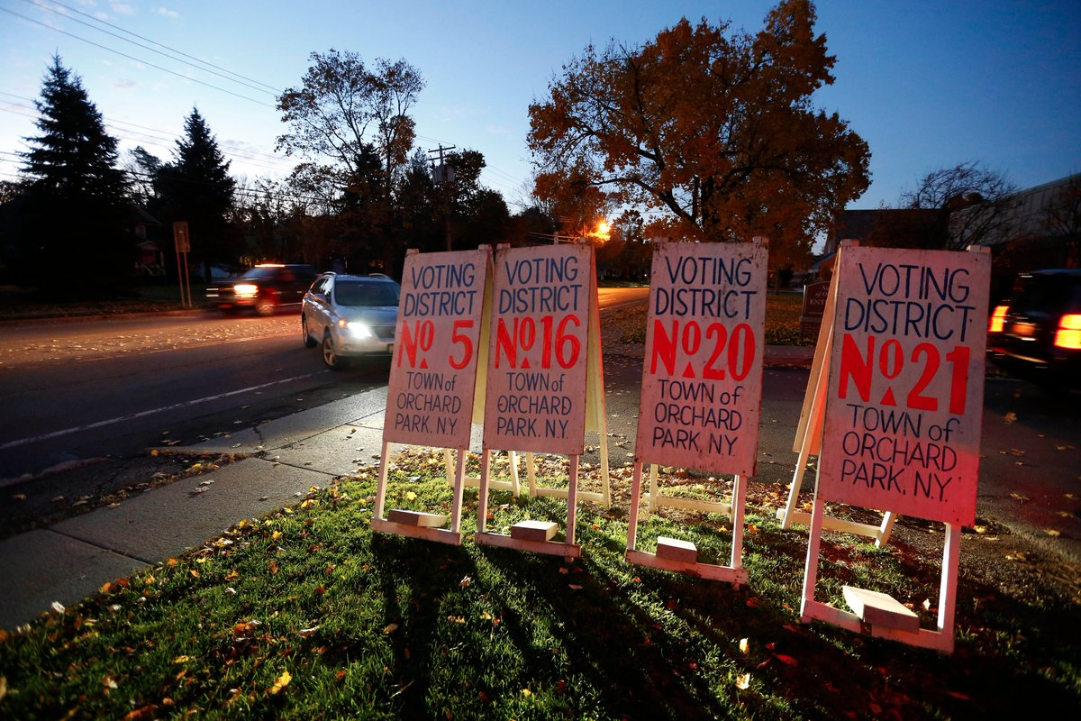 A steady stream of cars arrives at the polling station Tuesday at Nativity Of Our Lord Catholic Church in Orchard Park Tuesday, Nov. 8, 2016. (Mark Mulville/Buffalo News)