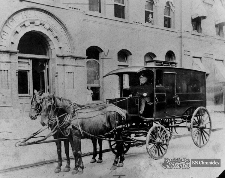 Buffalo Police headquarters, Seneca and Franklin, 1920s.