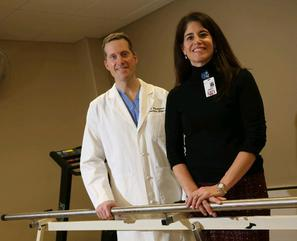 Dr. Marcus Romanowski, chief of orthopedics at Kenmore Mercy Hospital, and his wife Dr. Cindy Romanowski, director of orthopedic rehabilitation with Catholic Health, work together to guide patients through the knee replacement gamut.