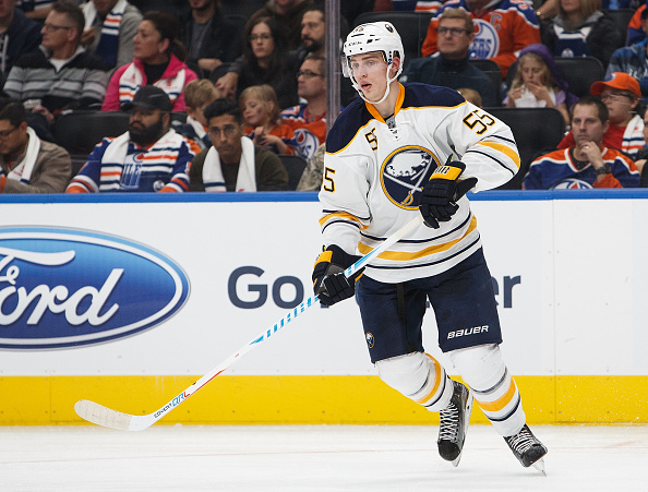 Rasmus Ristolainen ditched the Warrior stick in the second period. (Getty Images)