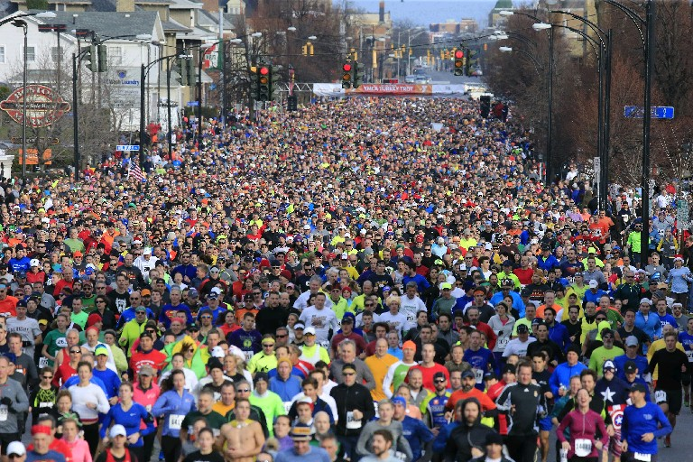 More than 14,000 runners participate in the YMCA's annual Turkey Trot in downtown Buffalo on Thanksgiving Day morning. (Harry Scull Jr./Buffalo News)