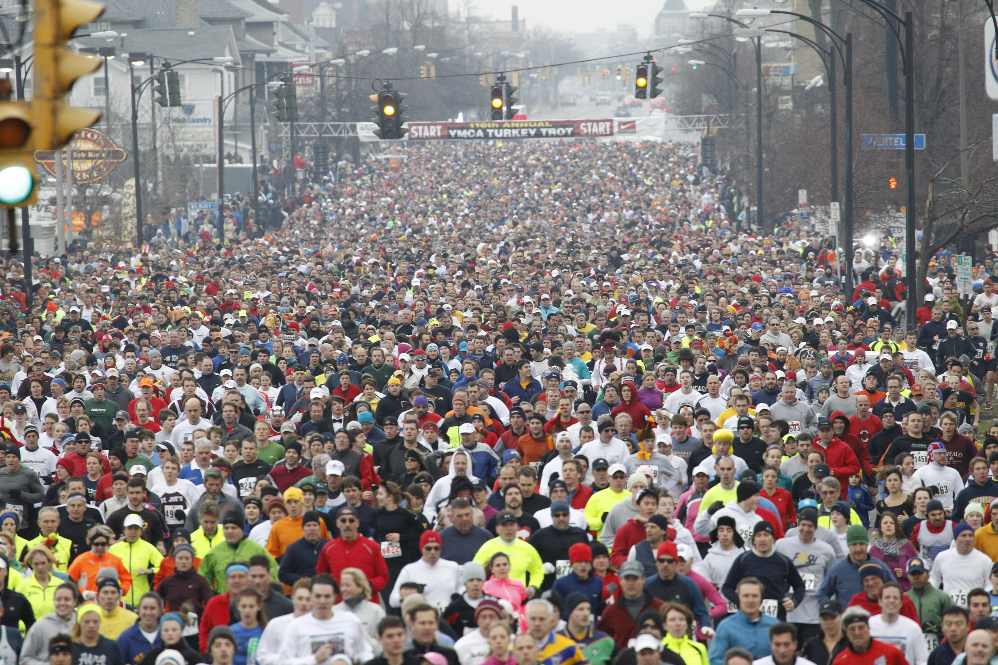 The women in the field of Turkey Trot can thank Mary Ann Bolles for making it possible (Harry Scull Jr. / Buffalo News}