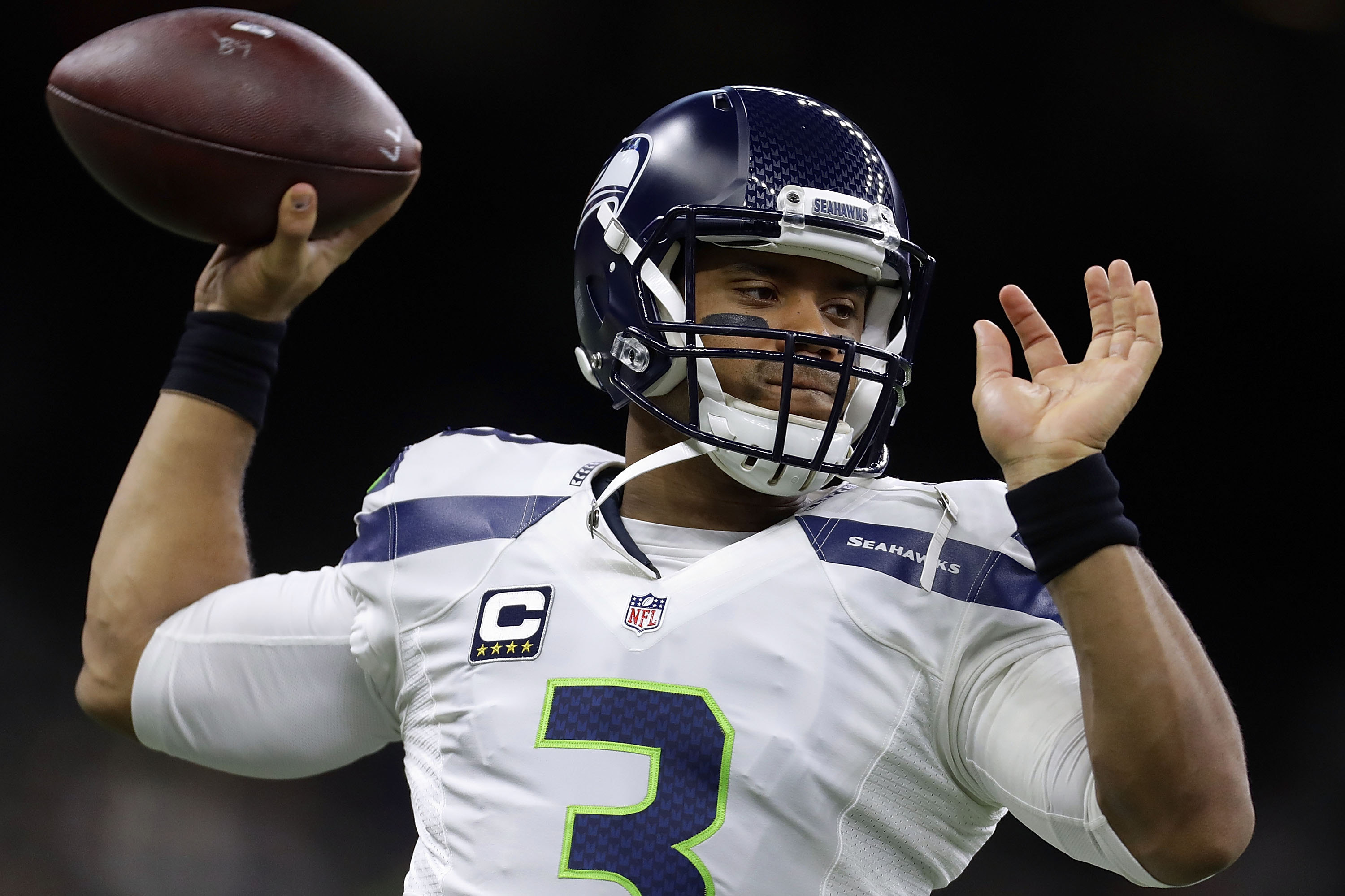 Russell Wilson was a third-round draft pick of the Seahawks who led the team to two straight Super Bowls.  (Getty Images)