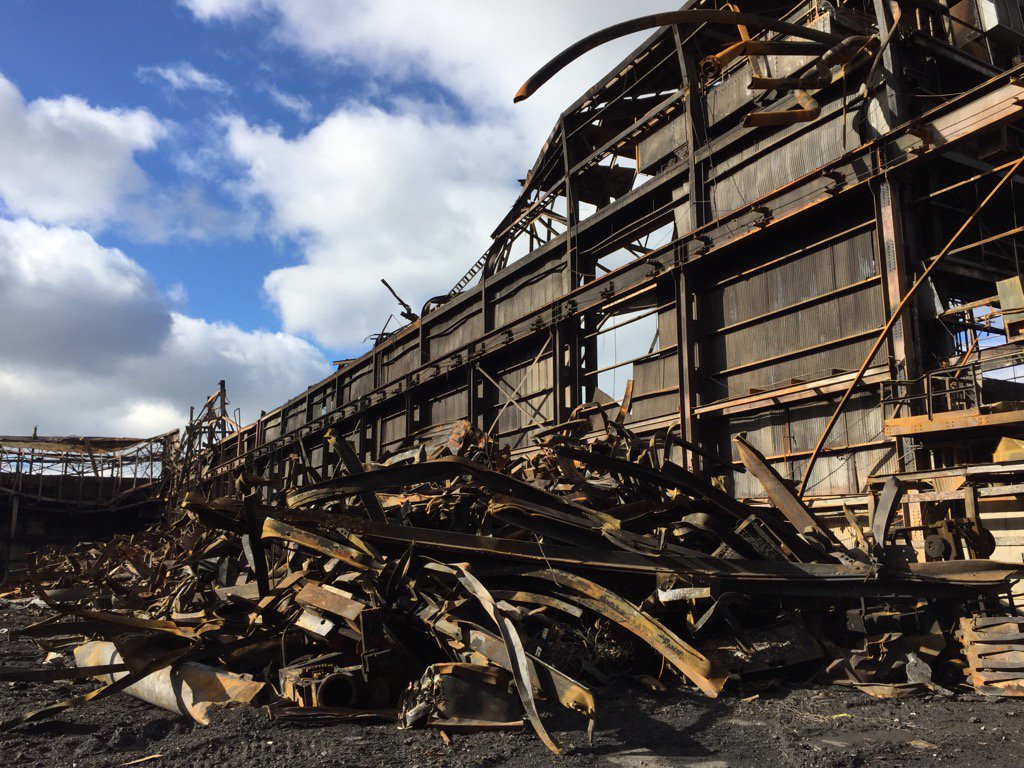 Officials held a walk-through of the wreckage of the Bethlehem Steel site that burned to the ground earlier this month. (Sharon Cantillon/Buffalo News)