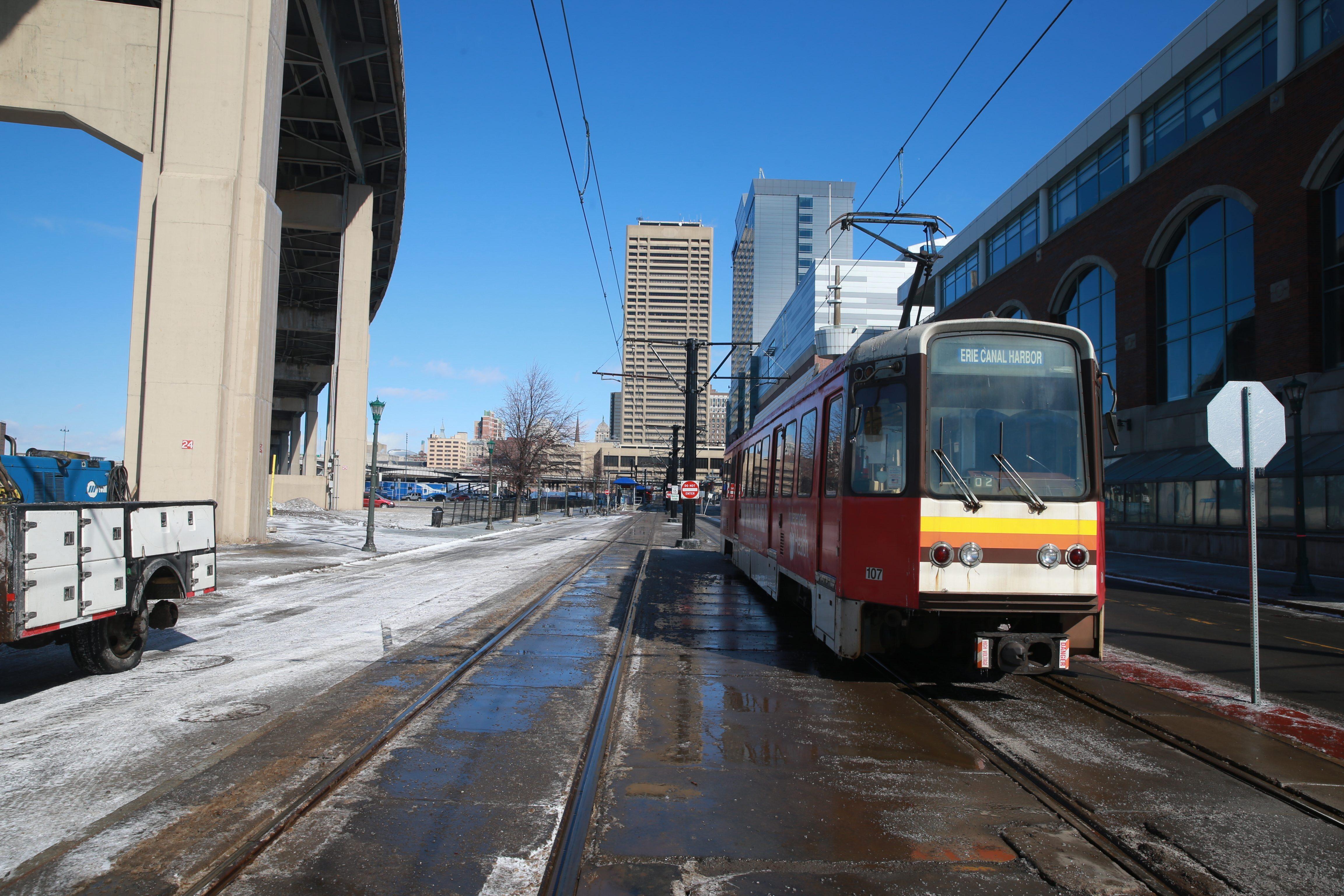 A proposal to address the Metro Rail track at the foot of Main Street won state economic development funding on Thursday. (John Hickey/Buffalo News file photo)