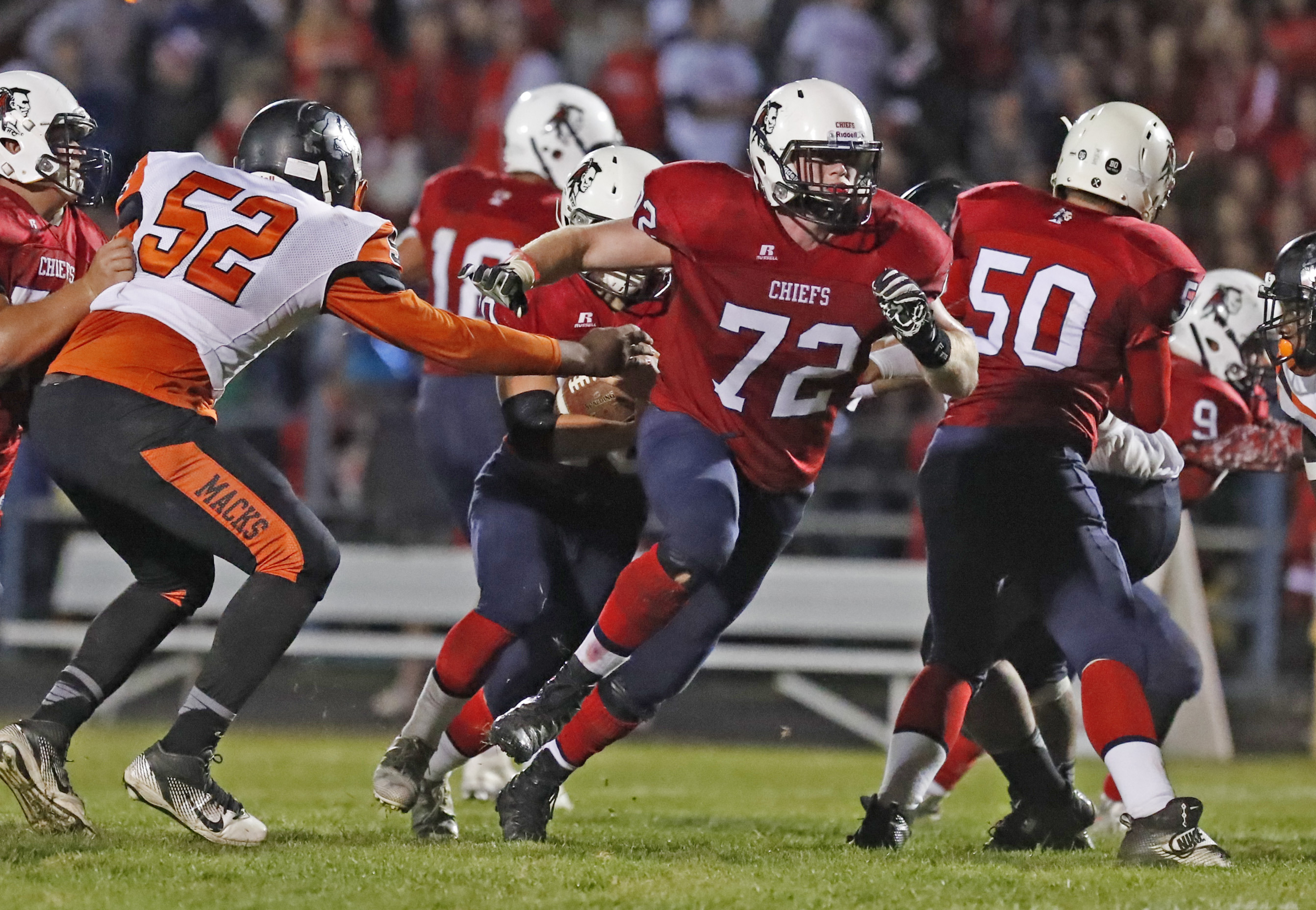 Iroquois Nathan Emer blocks against McKinley this season. (Harry Scull Jr./Buffalo News)