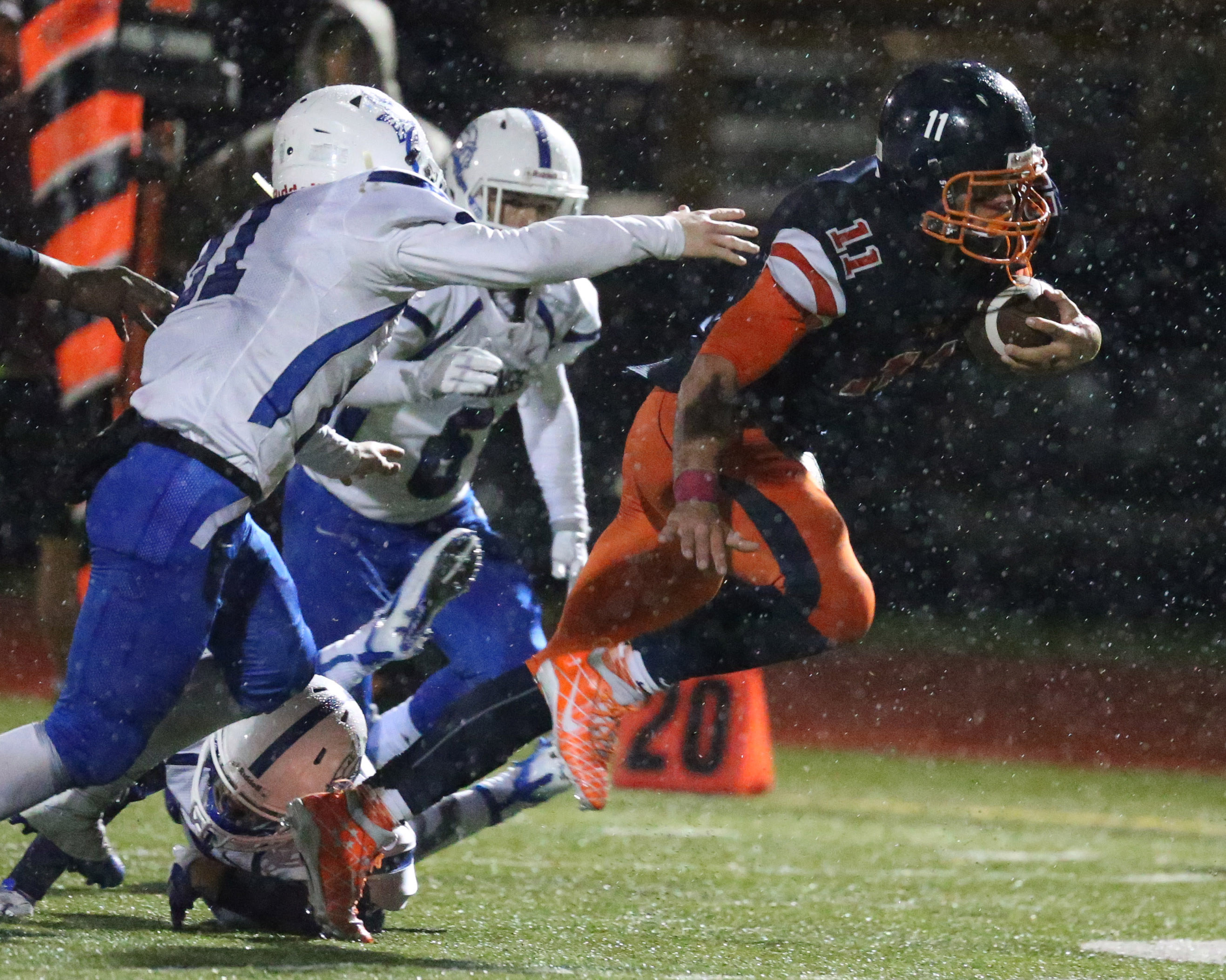 Bennett's Isaiah McDuffie beats Grand Island for a long gain this season. (James P. McCoy/Buffalo News)