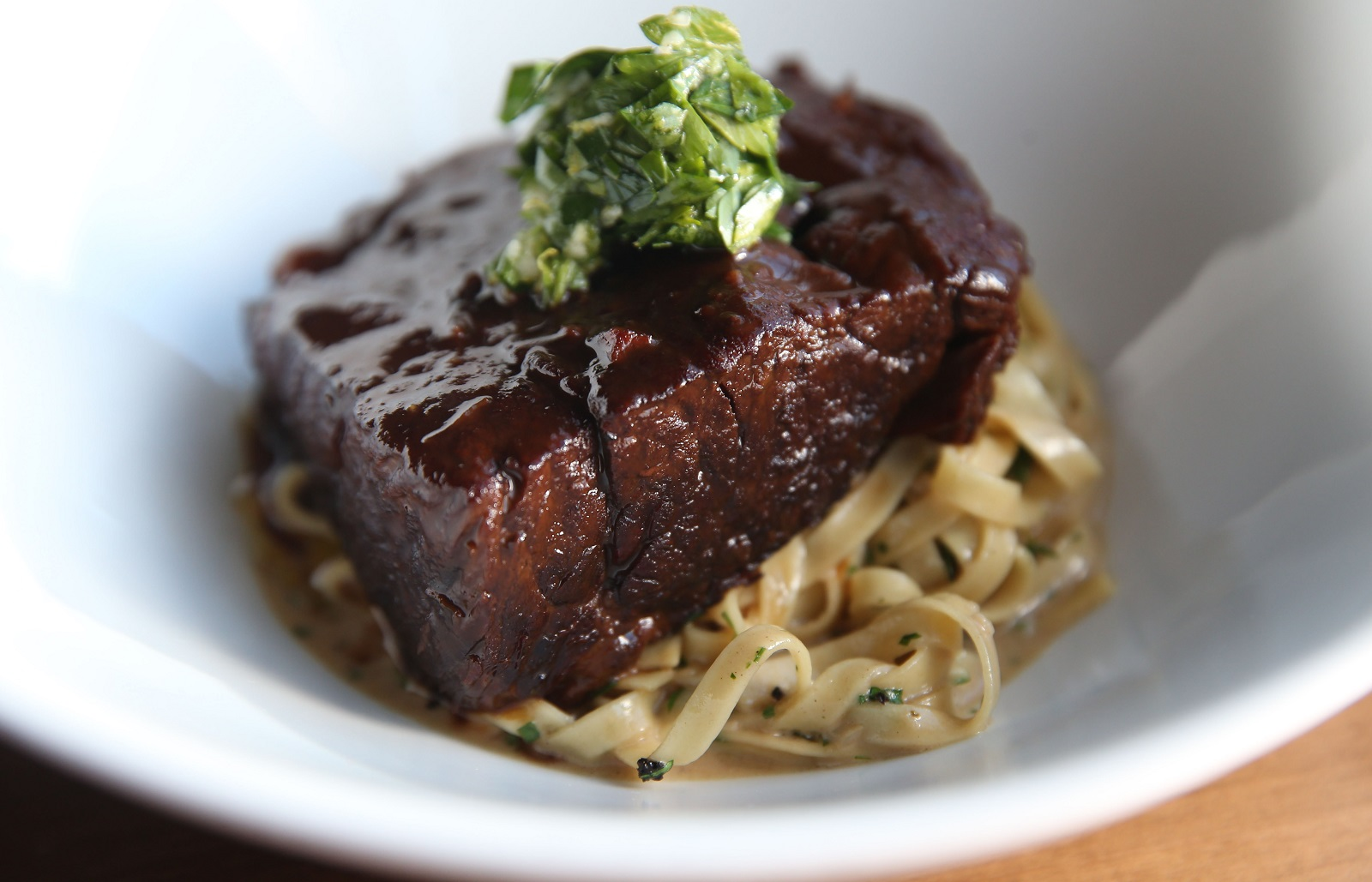 The braised short rib is made with red wine braised beef, fresh pasta and mushroom cream.  (Sharon Cantillon/Buffalo News)