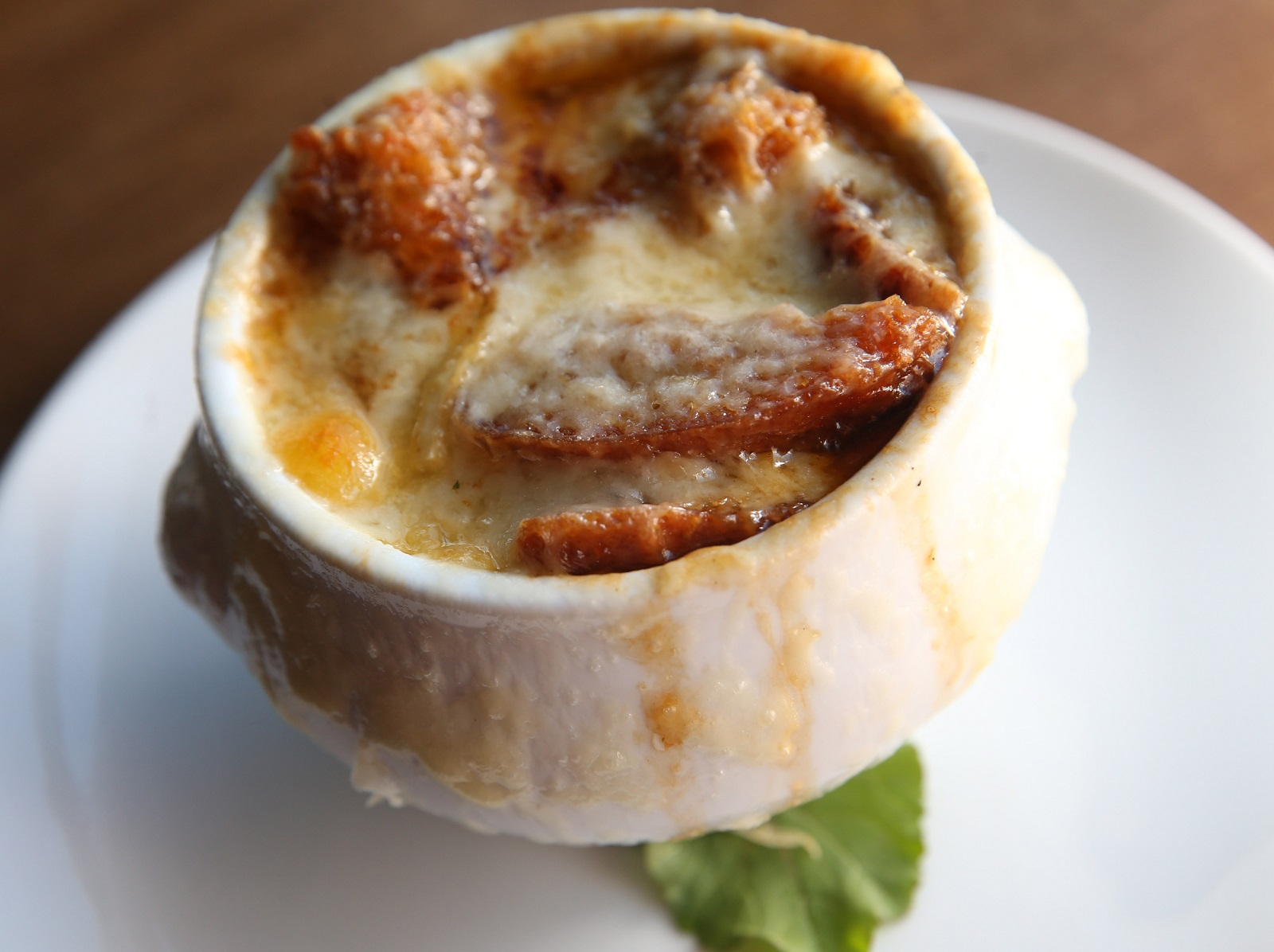 The French onion soup is made with Plato Dale onions, croutons and gruyere. (Sharon Cantillon/Buffalo News)