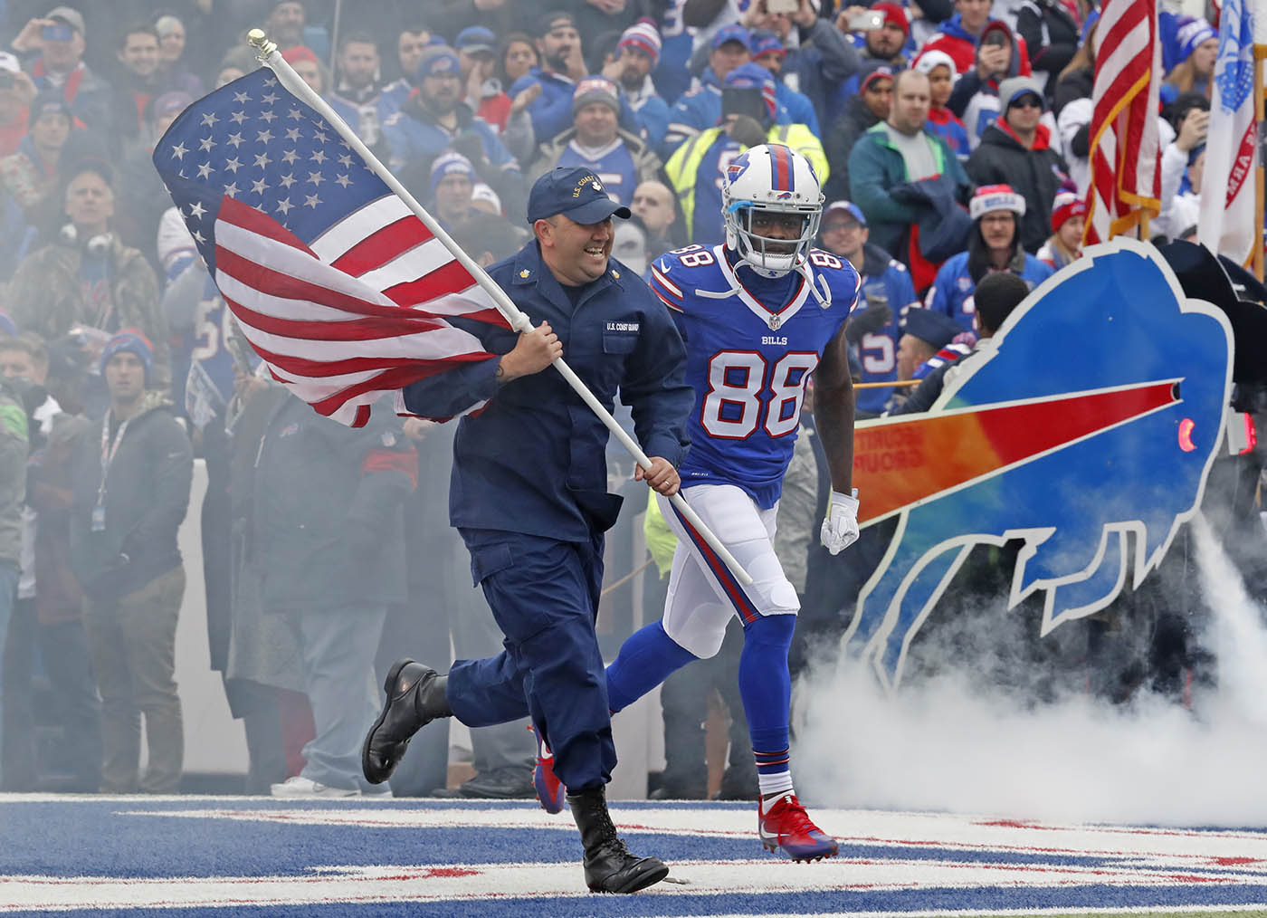 Buffalo Bills Marquise Goodwin is introduced prior to playing the Jacksonville Jaguars at New Era Field on Sunday, Nov. 27, 2016.(Harry Scull Jr./Buffalo News)