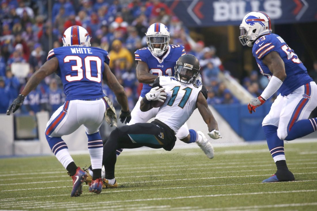 Corey White (30) was among Bills defensive backs who stepped up after Ronald Darby was injured against the Jacksonville Jaguars (Robert Kirkham/Buffalo News)