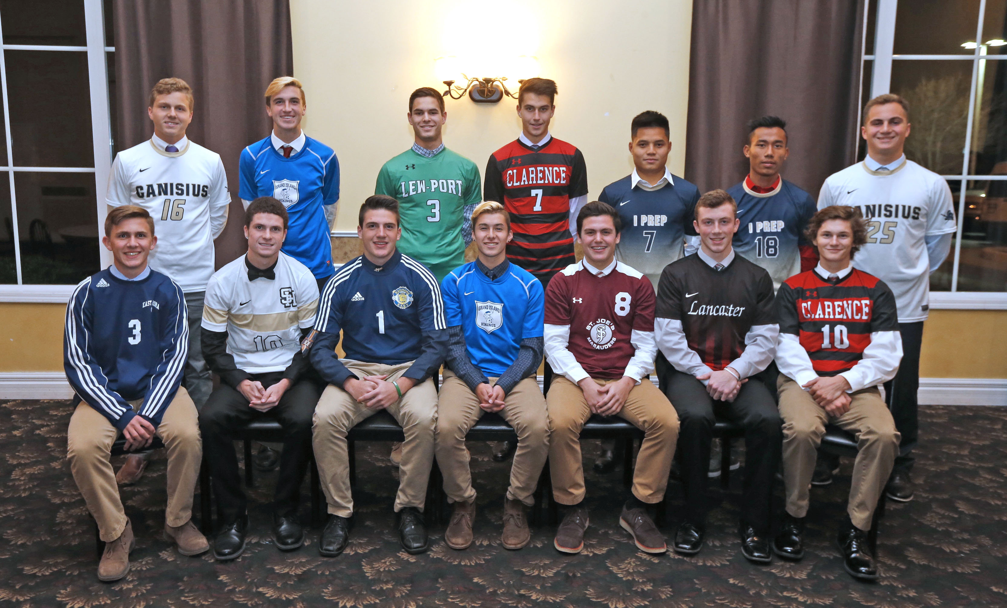 Western New York's best in boys soccer in 2016: From left, sitting, Bryce Schiltz, Noah Keem, Dylan Guarino, Jacob Gleave, Spencer Frome, Kevin Loftus and Sam Sutherland. Standing, from left, Max Montante, Garrett Robinson, Zachary Westadt, Austin Knorze, Pa Lu, Siang Hnin Lian and Mike Mazzara. Missing is Jackson Retzer. (Robert Kirkham/Buffalo News)
