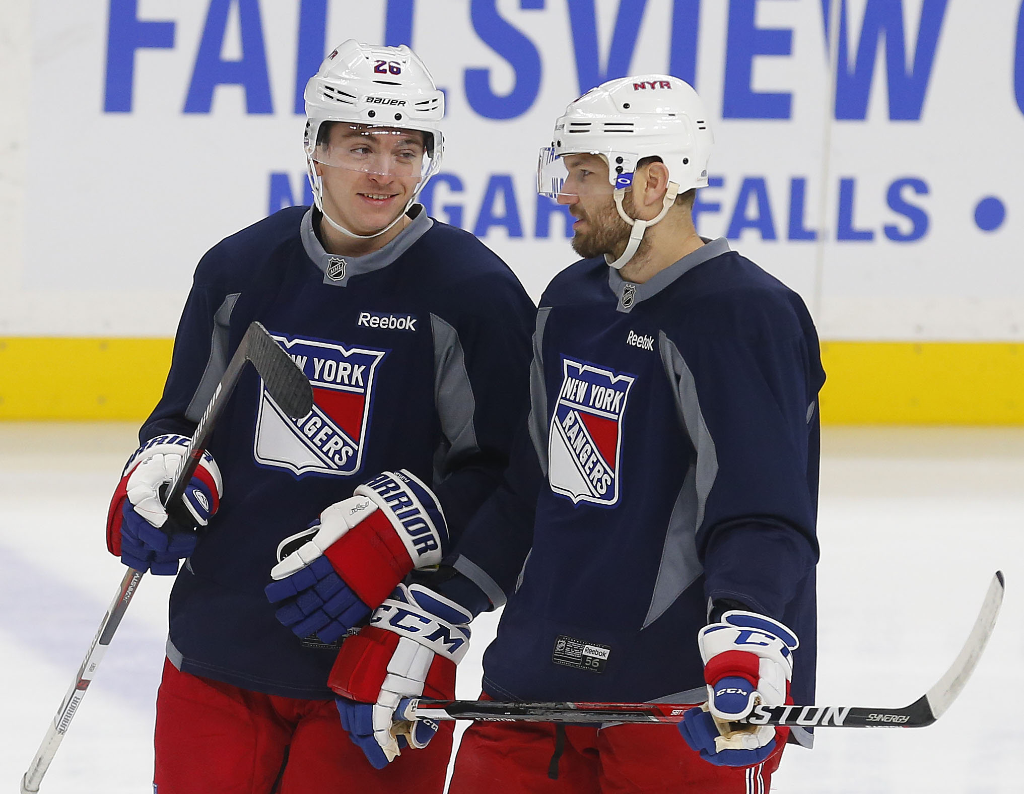 New York Rangers forward Jimmy Vesey, left, talks with teammate Rick Nash during the morning skate at the KeyBank Center. (Mark Mulville/The Buffalo News)