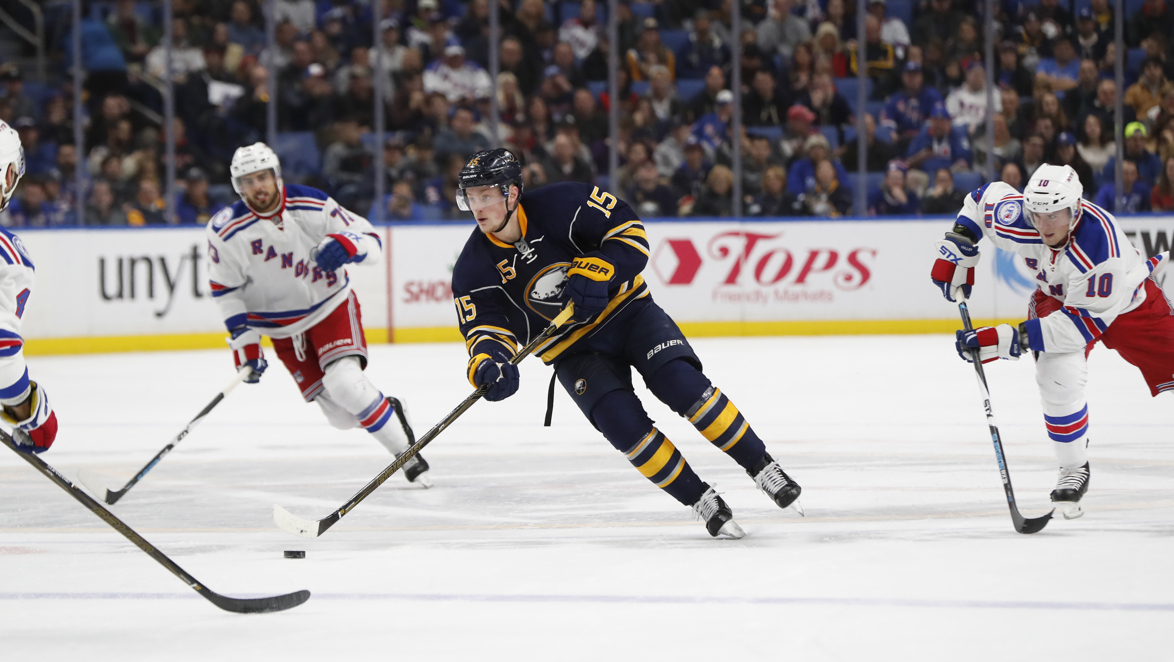 Sabres center Jack Eichel could have alternating left wingers again Friday. (Harry Scull Jr./Buffalo News)