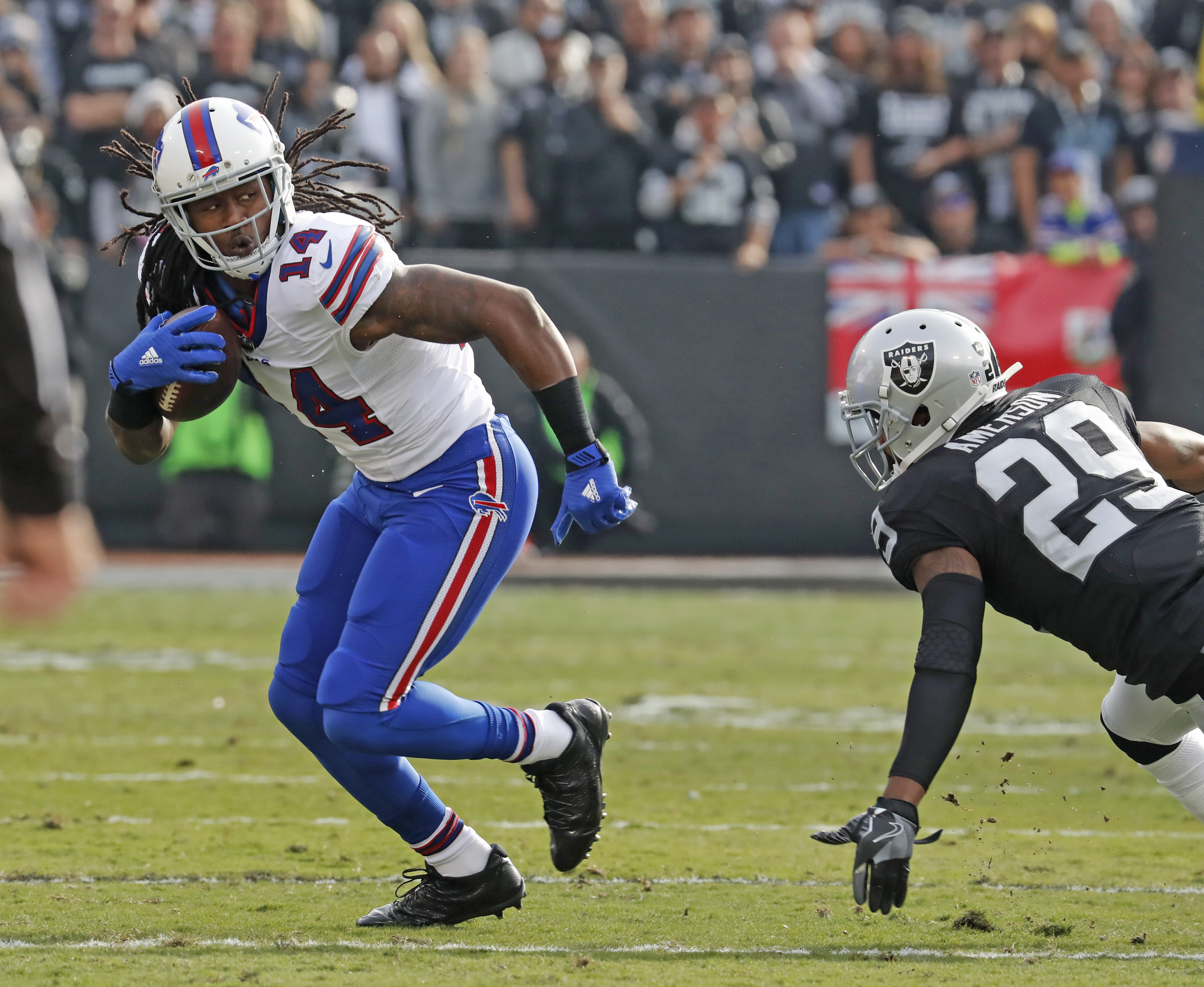 Buffalo Bills Sammy Watkins runs after a catch against the Oakland Raiders during first quarter action at the Oakland-Alameda County Coliseum on Sunday, Dec. 4, 2016. (Harry Scull Jr./Buffalo News)