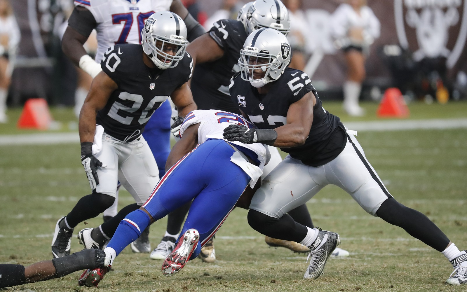 Oakland Raider and former UB star Khalil Mack (52) might be talking about Buffalo after all. (Harry Scull Jr./Buffalo News)