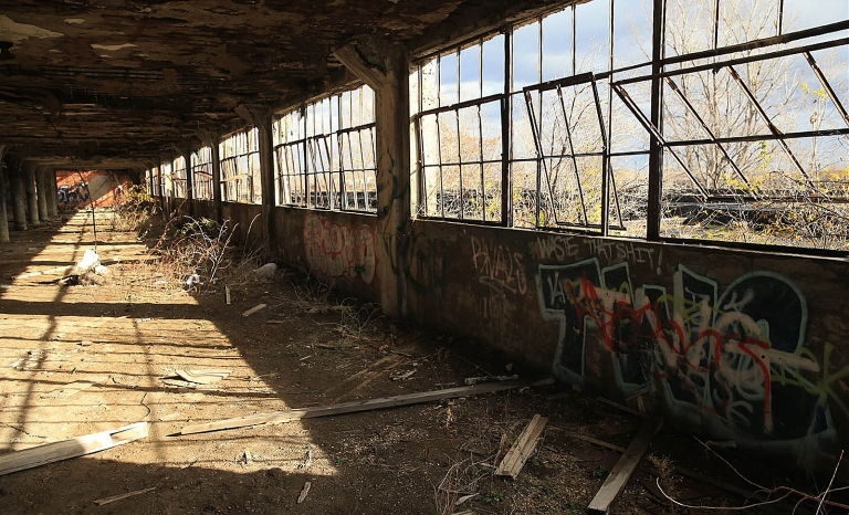 Loft-style housing would be in what remains of the former Railway Express Agency Building. (John Hickey/Buffalo News)