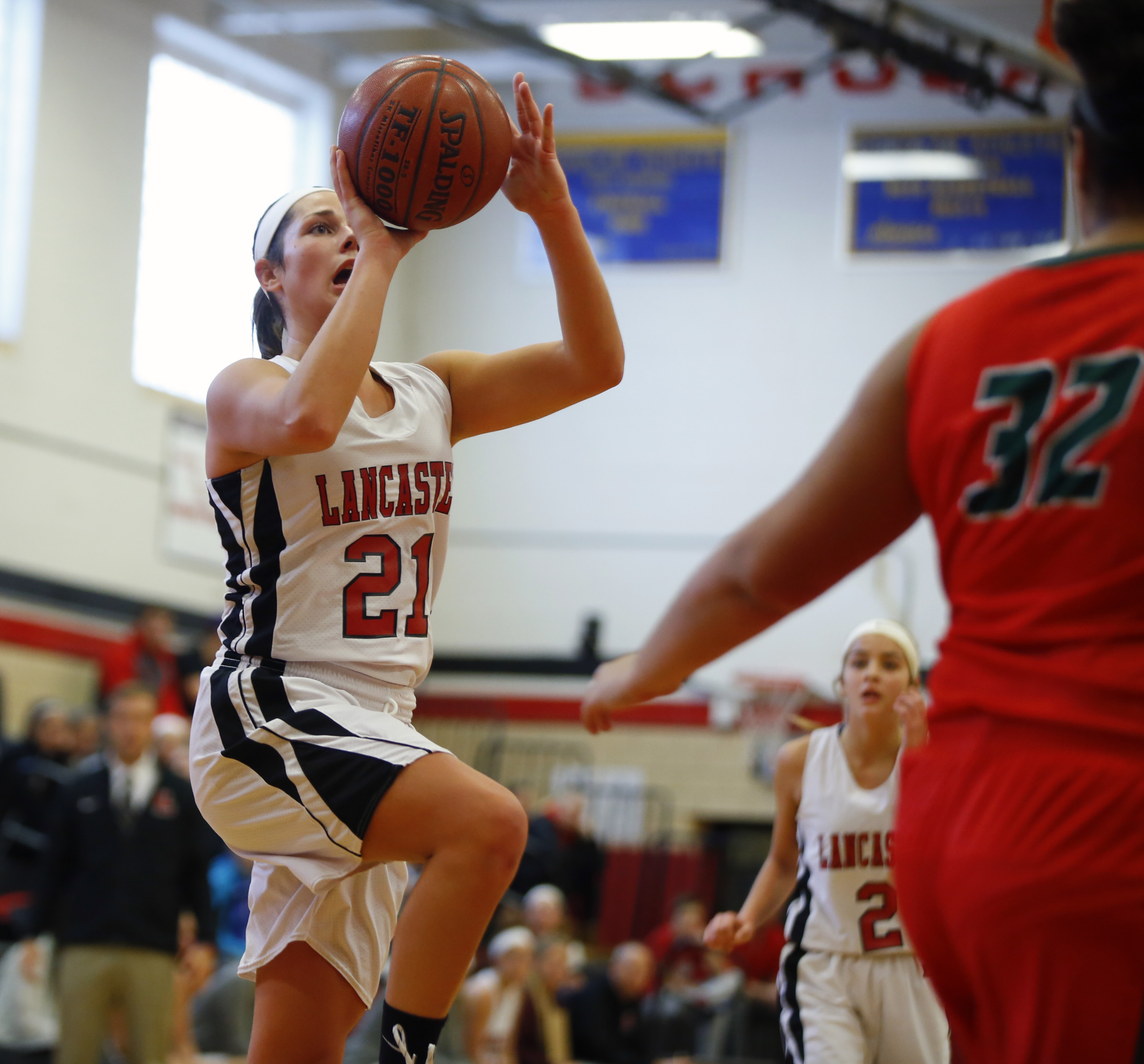 Lancaster's Molly Mahony shoots against Jamestown during first half action at Lancaster high school on Saturday. The Legends earned the league win. (Harry Scull Jr./Buffalo News)