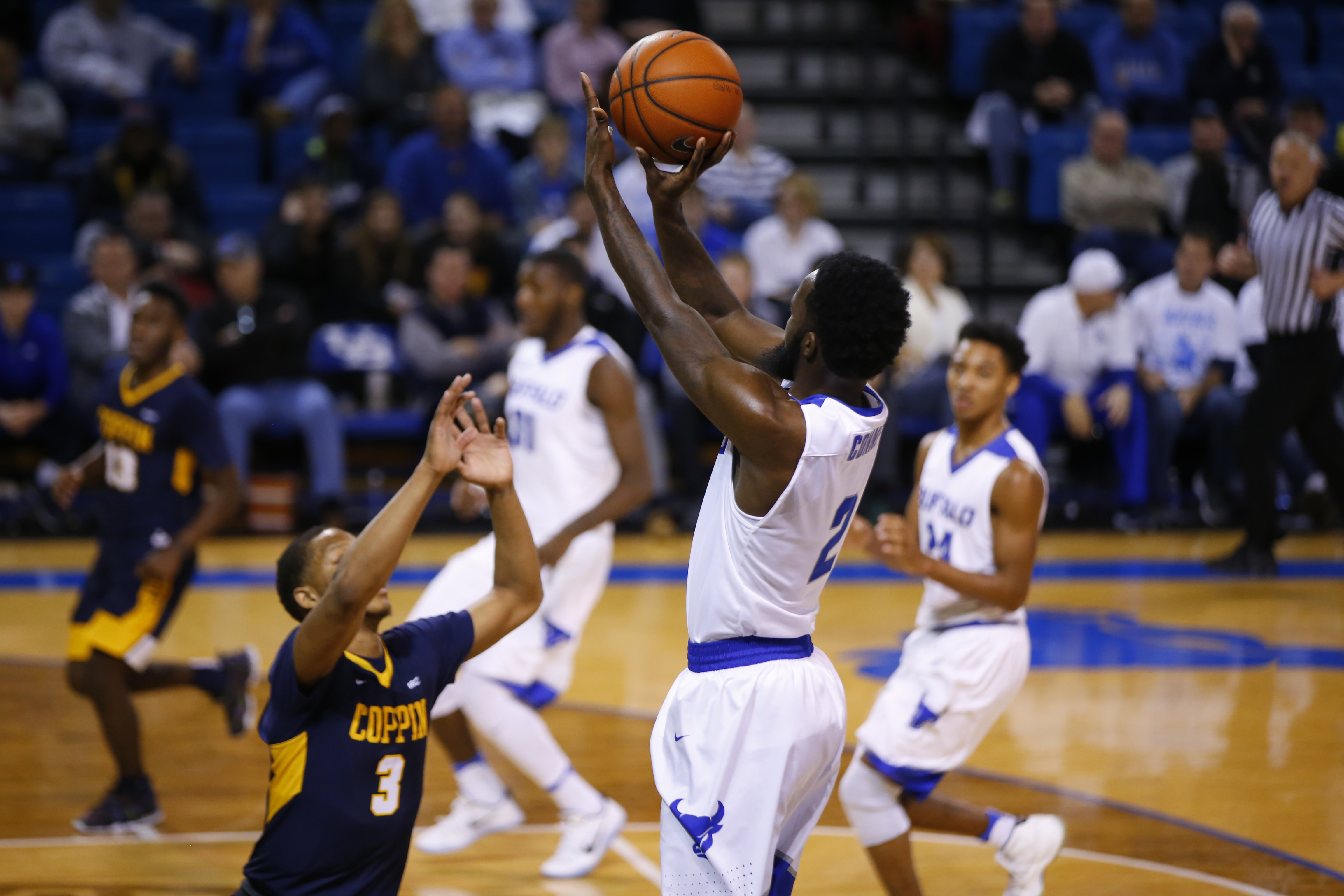 University at Buffalo's Willie Conner shoots a three point basket against Coppin State during second half action at Alumni Arena. (Harry Scull Jr./Buffalo News)