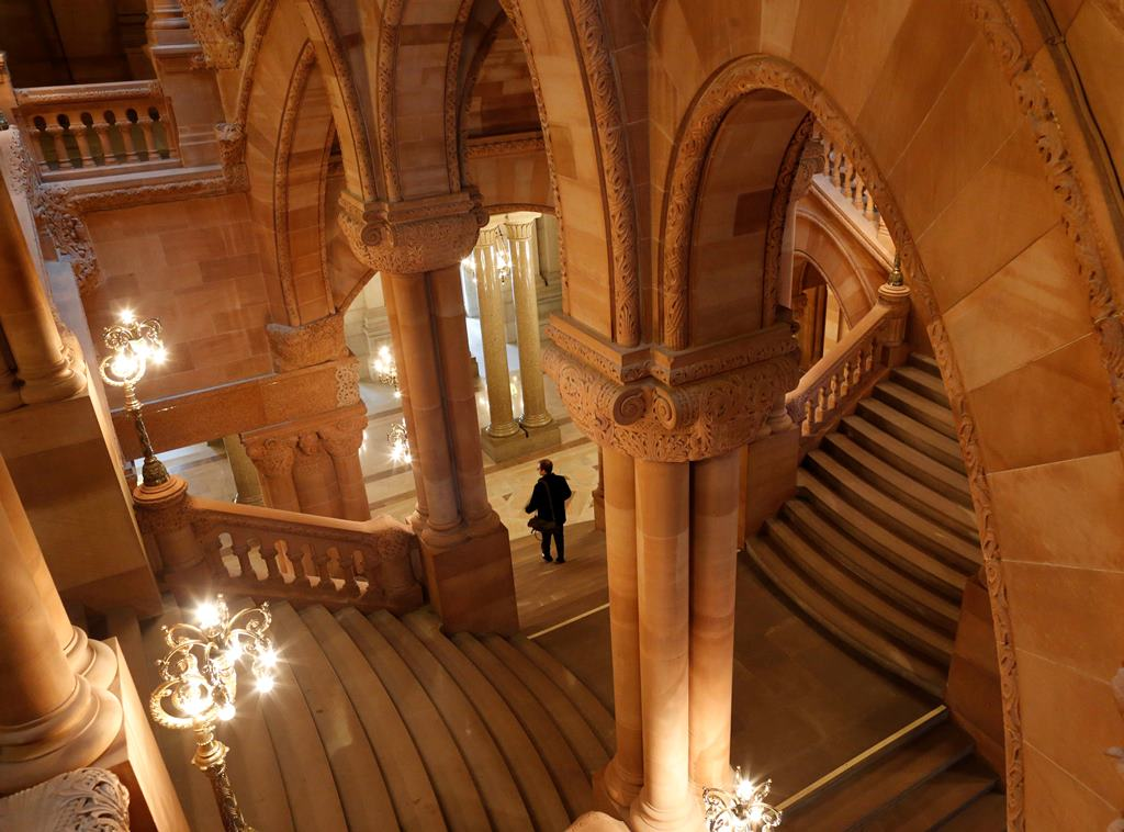 """A view of the """"Million Dollar Staircase"""" in the New York State Capitol in Albany.  (Derek Gee/Buffalo News)"""