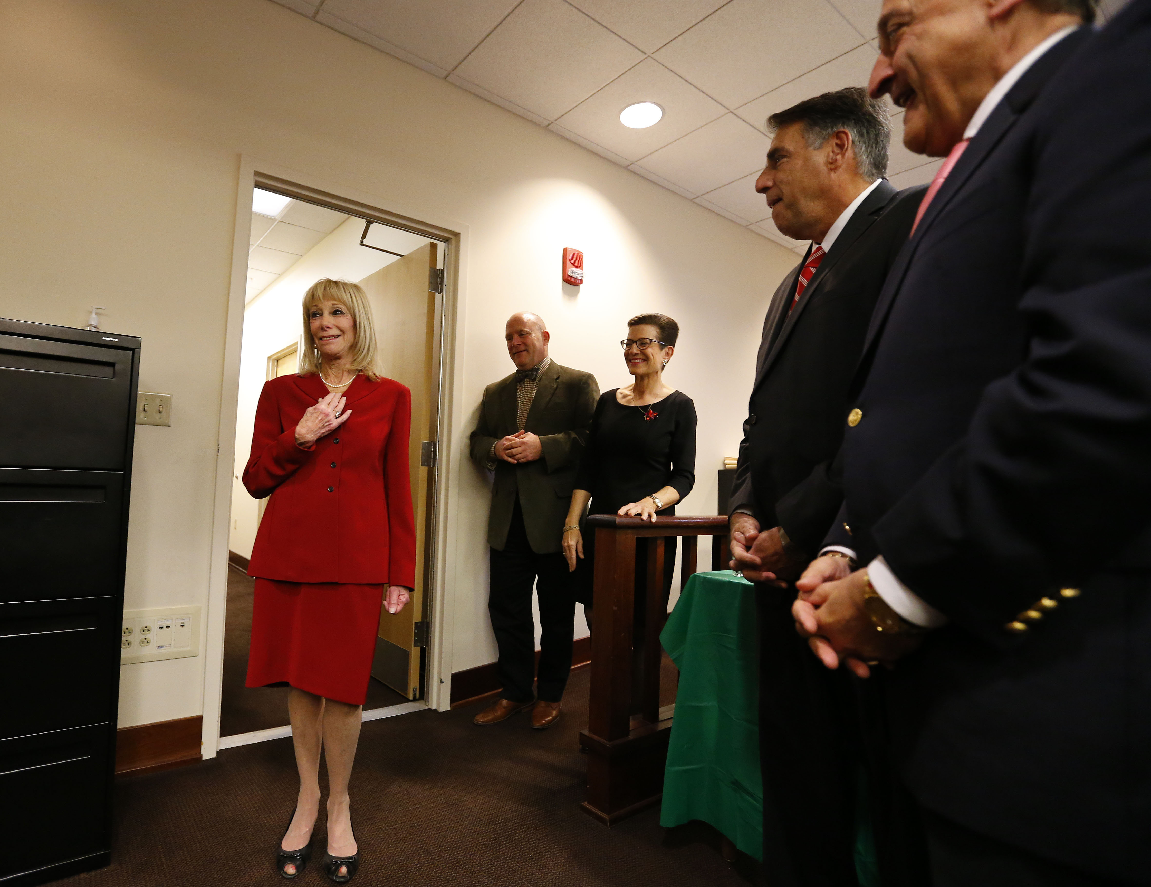 Hon. Penny M. Wolfgang was surprised last week by her colleagues during a gathering for her. (Mark Mulville/Buffalo News)