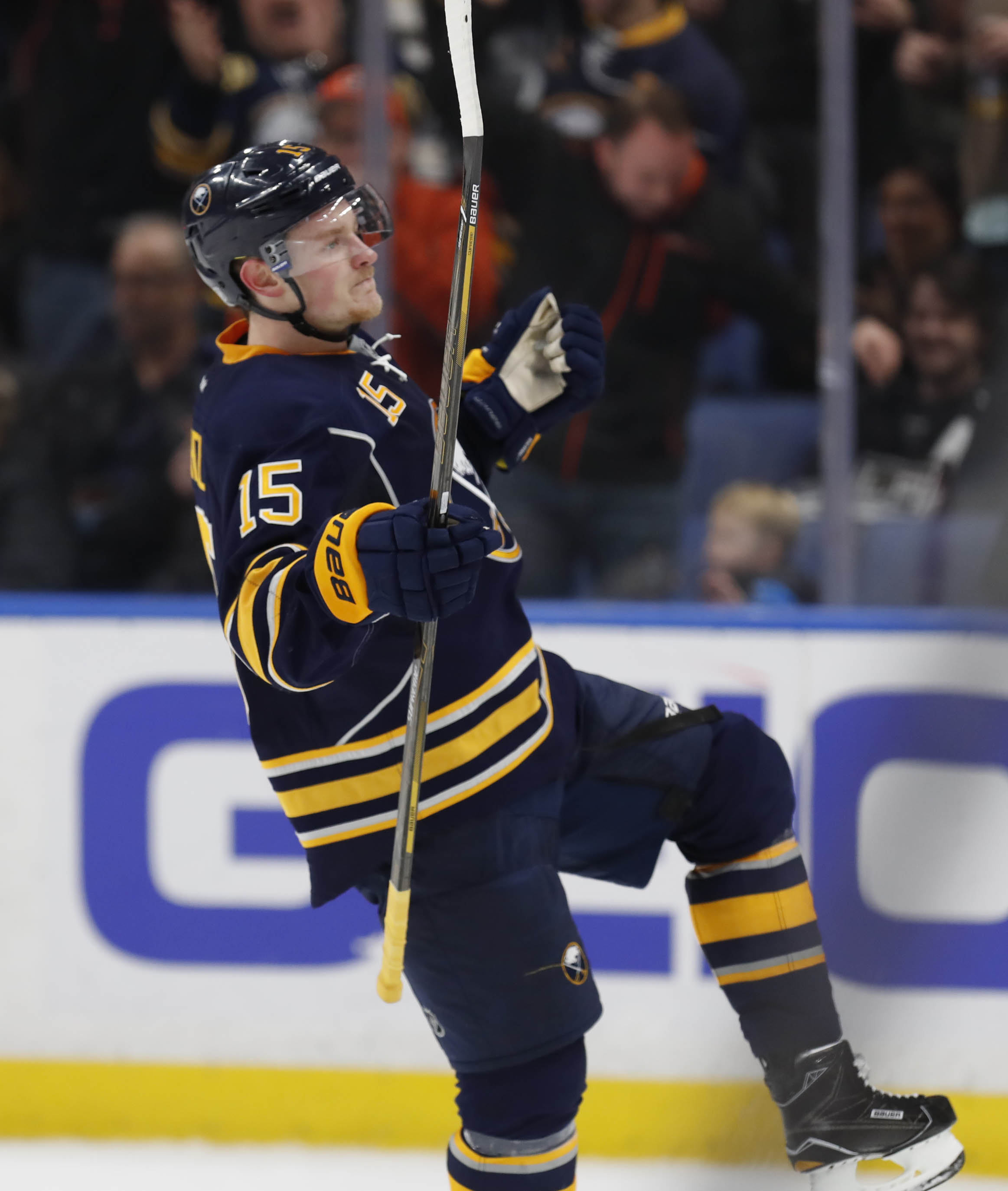 Buffalo Sabres Jack Eichel celebrates his second goal against the Los Angeles Kings. (Harry Scull Jr./Buffalo News)