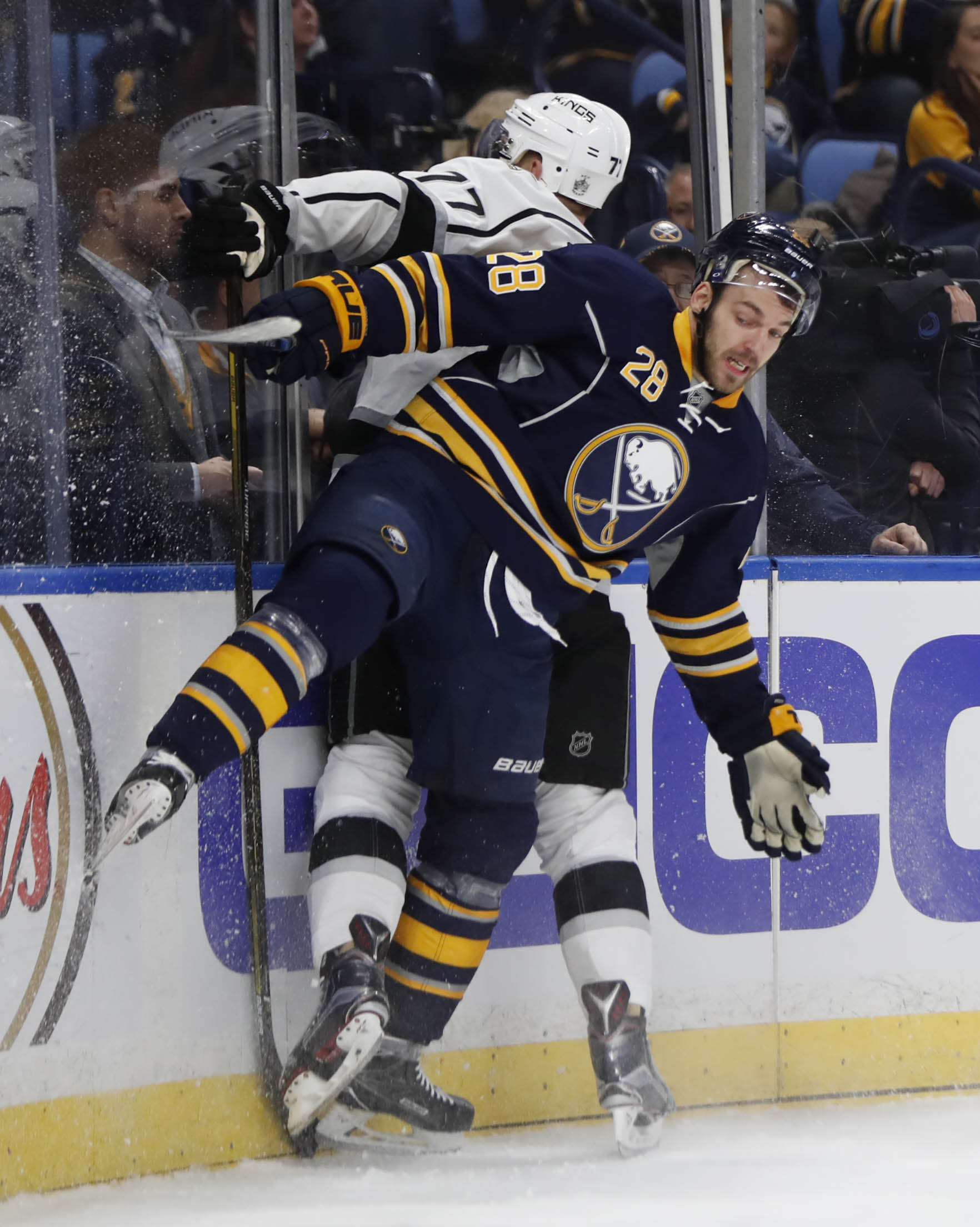 Zemgus Girgensons and the Sabres need to build off Tuesday's victory over Jeff Carter and the Kings. (Harry Scull Jr./Buffalo News)