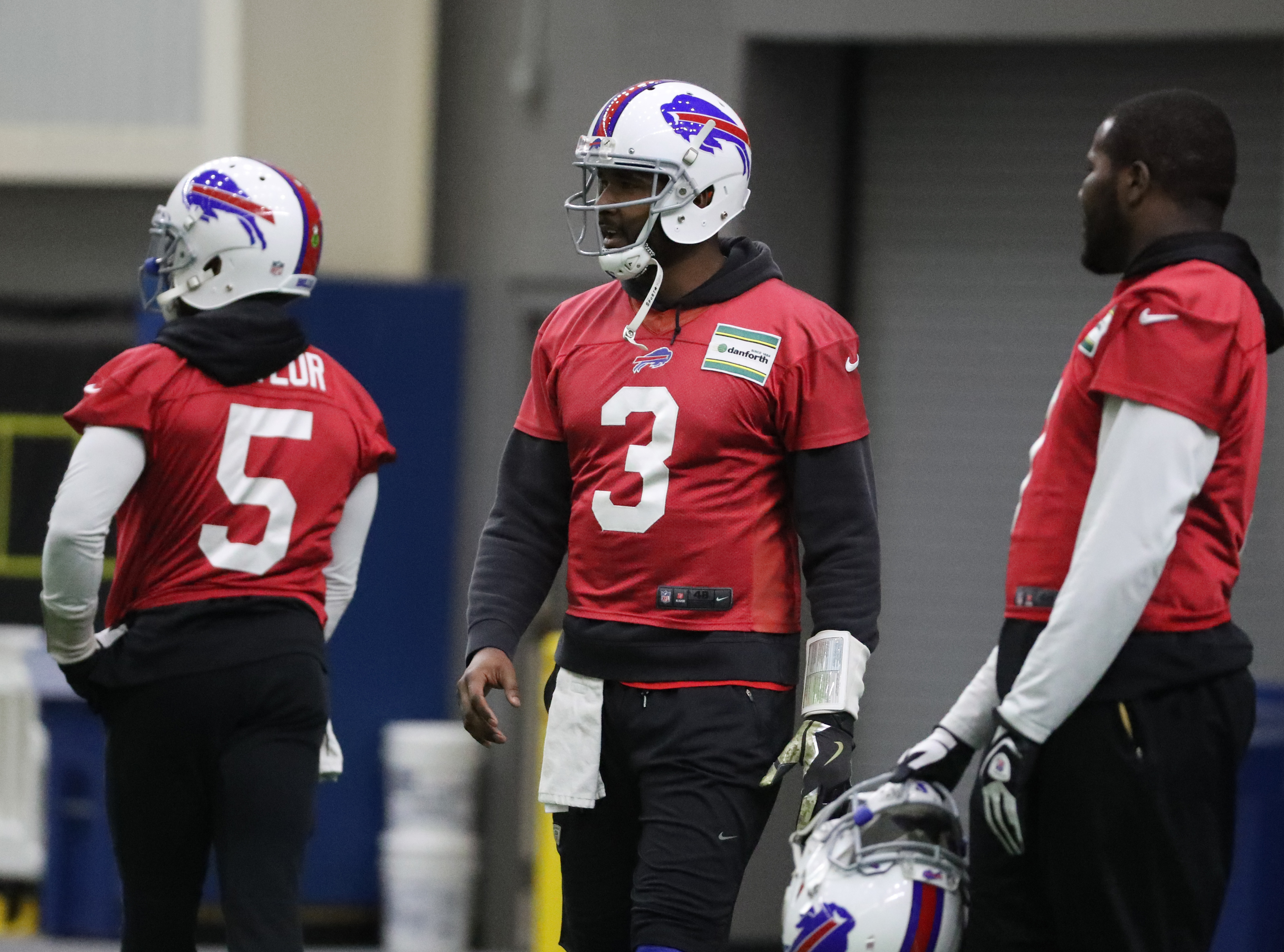 Buffalo Bills quarterback EJ Manuel (3) waits his turn to throw a pass during practice at ADPRO Sports Training Center in Orchard Park, N.Y. on Wednesday, Dec. 14, 2016.  (James P. McCoy/Buffalo News)