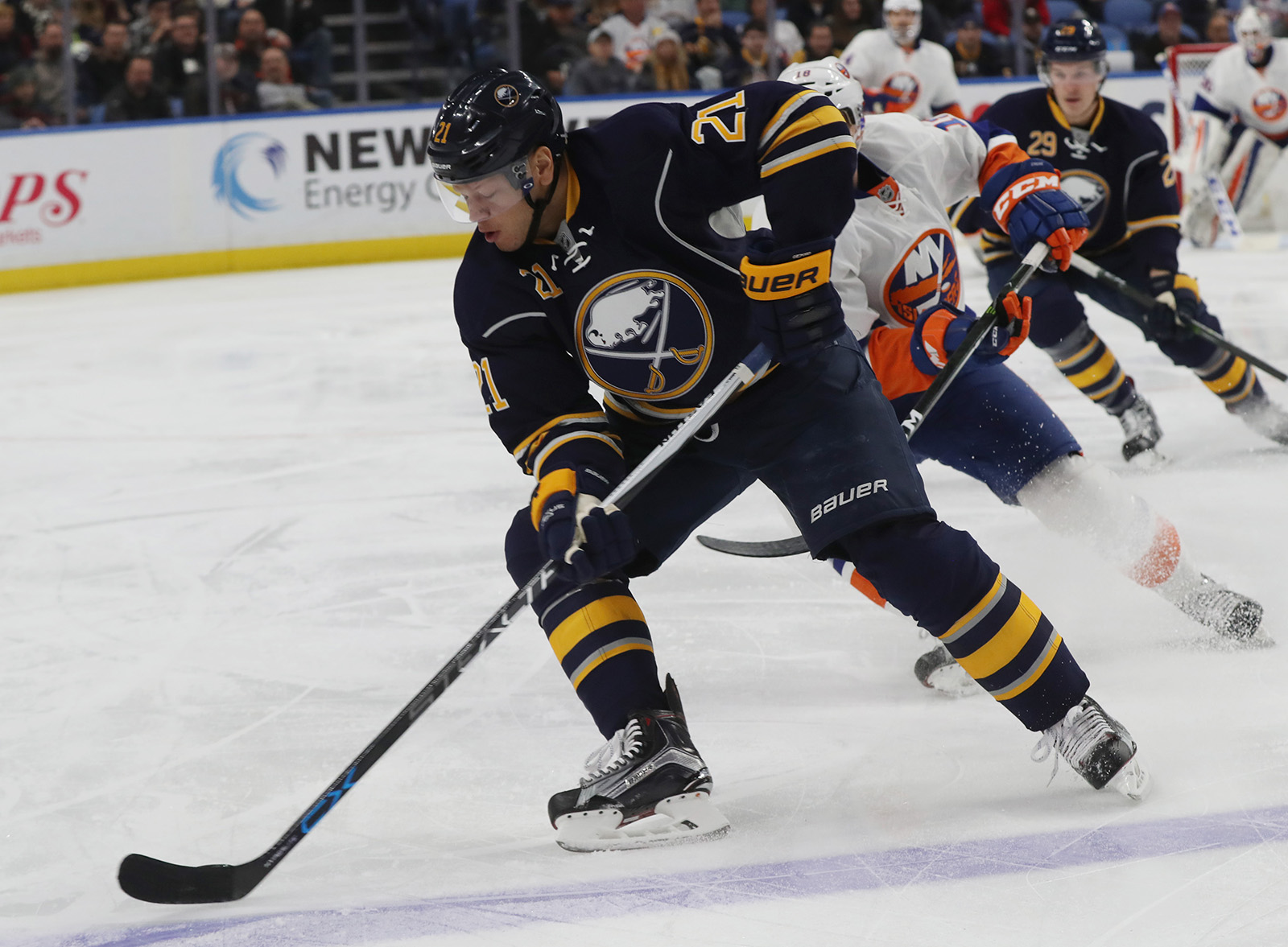 Kyle Okposo earned the assist on Rasmus Ristolainen's overtime winner. (James P. McCoy/Buffalo News).