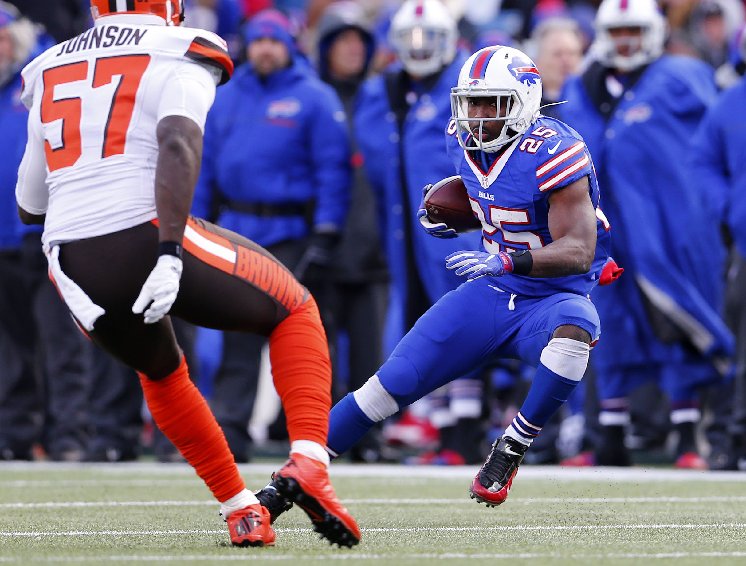 Bills LeSean McCoy looks to get past Browns Cam Johnson in the second quarter at New Era Field in Orchard Park Sunday, December 18, 2016.    (Mark Mulville/The Buffalo News)