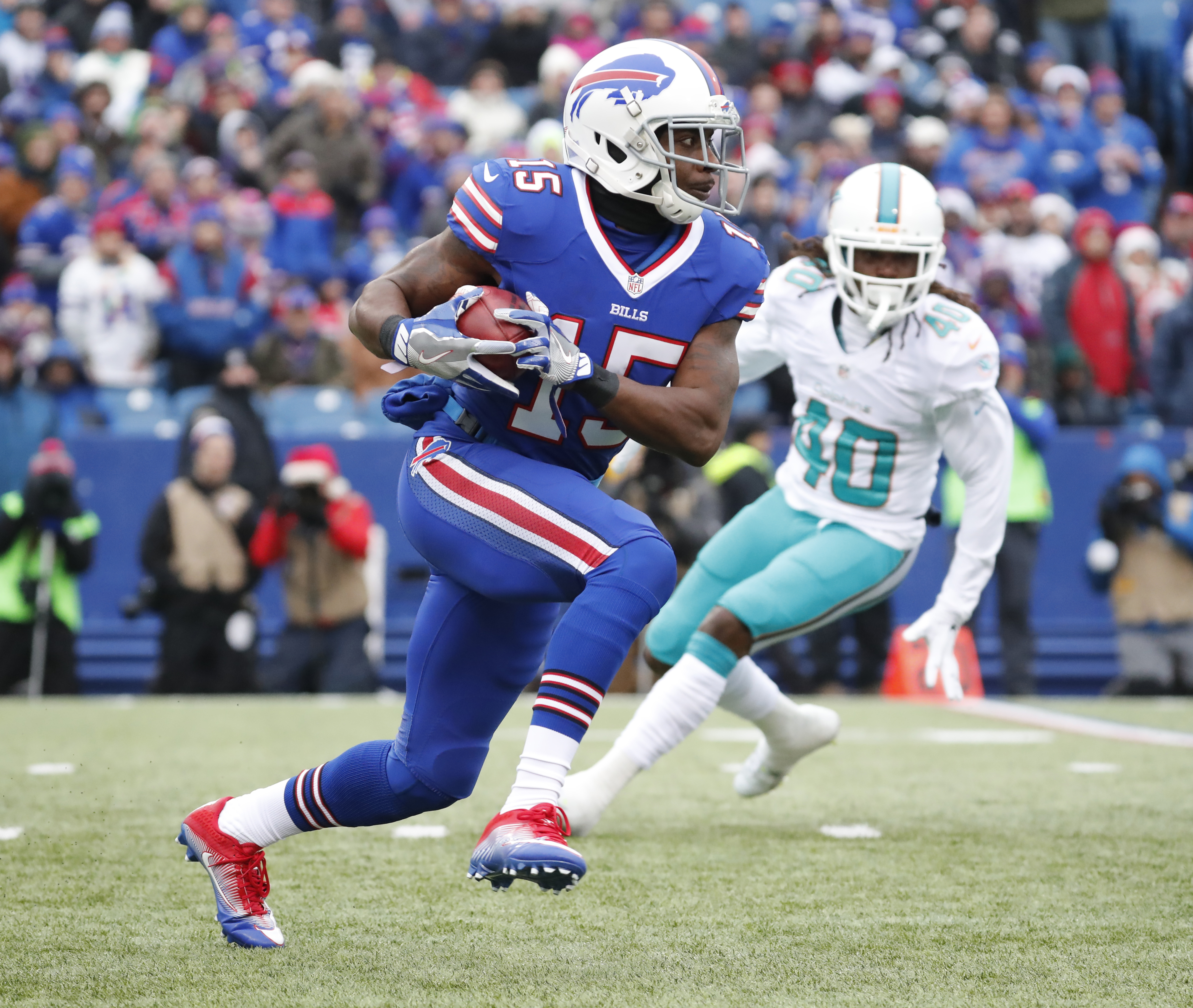Receiver Brandon Tate's roster spot could he solidified by his ability to return punts and kicks for the Bills. (Harry Scull Jr./Buffalo News)