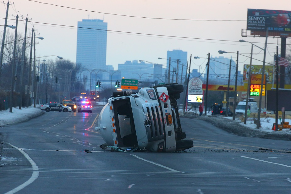 Wednesday morning's crash shut down Route 5 for more than 10 hours. (John Hickey/Buffalo News)