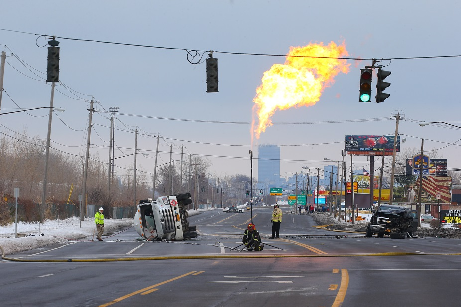 Propane from a tanker leaking after a crash on Route 5 is burned off late Wednesday morning. (John Hickey/Buffalo News)