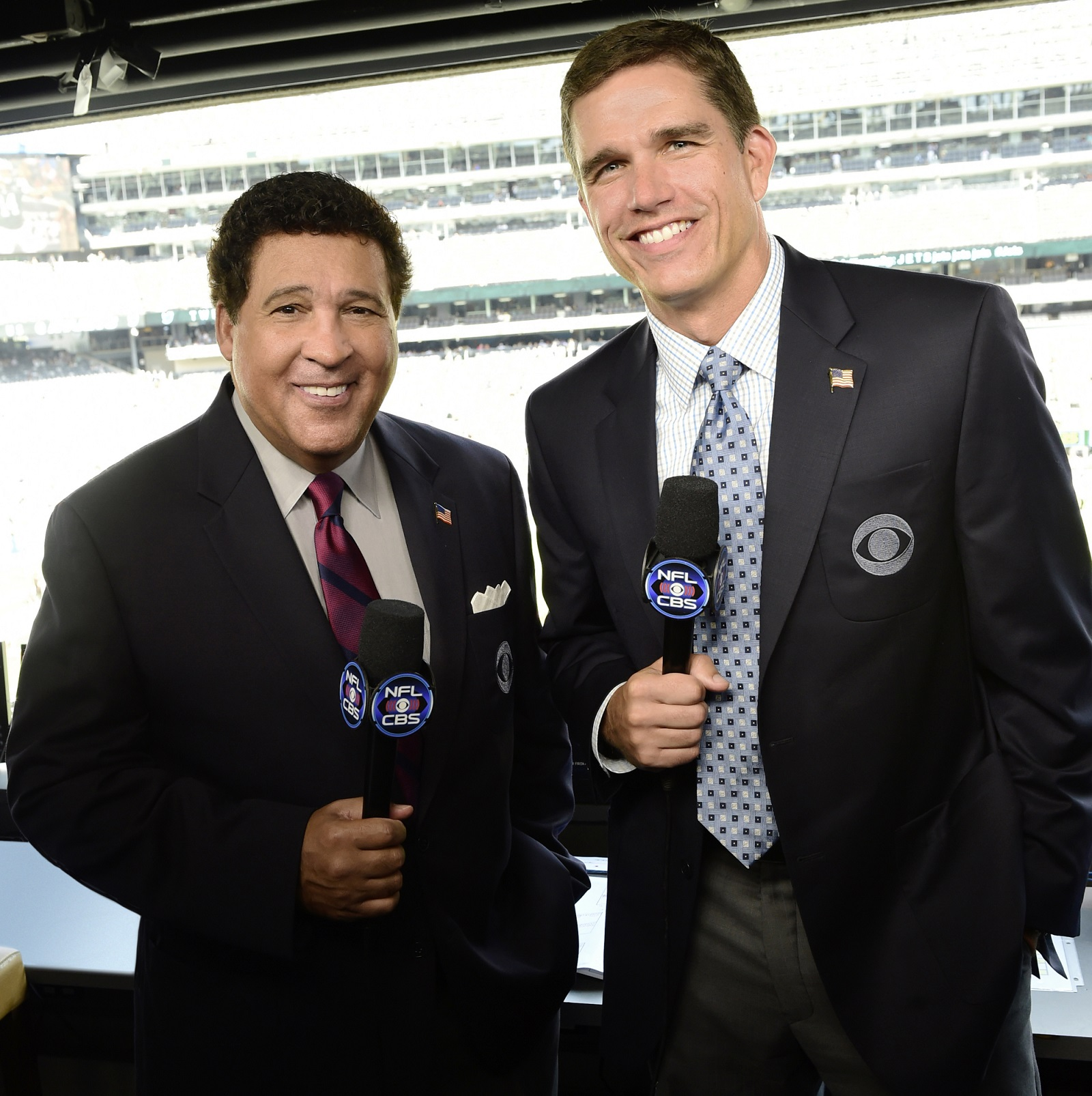 CBS NFL play-by-play announcer Greg Gumbel and analyst Trent Green. (Photo: John Paul Filo/CBS)