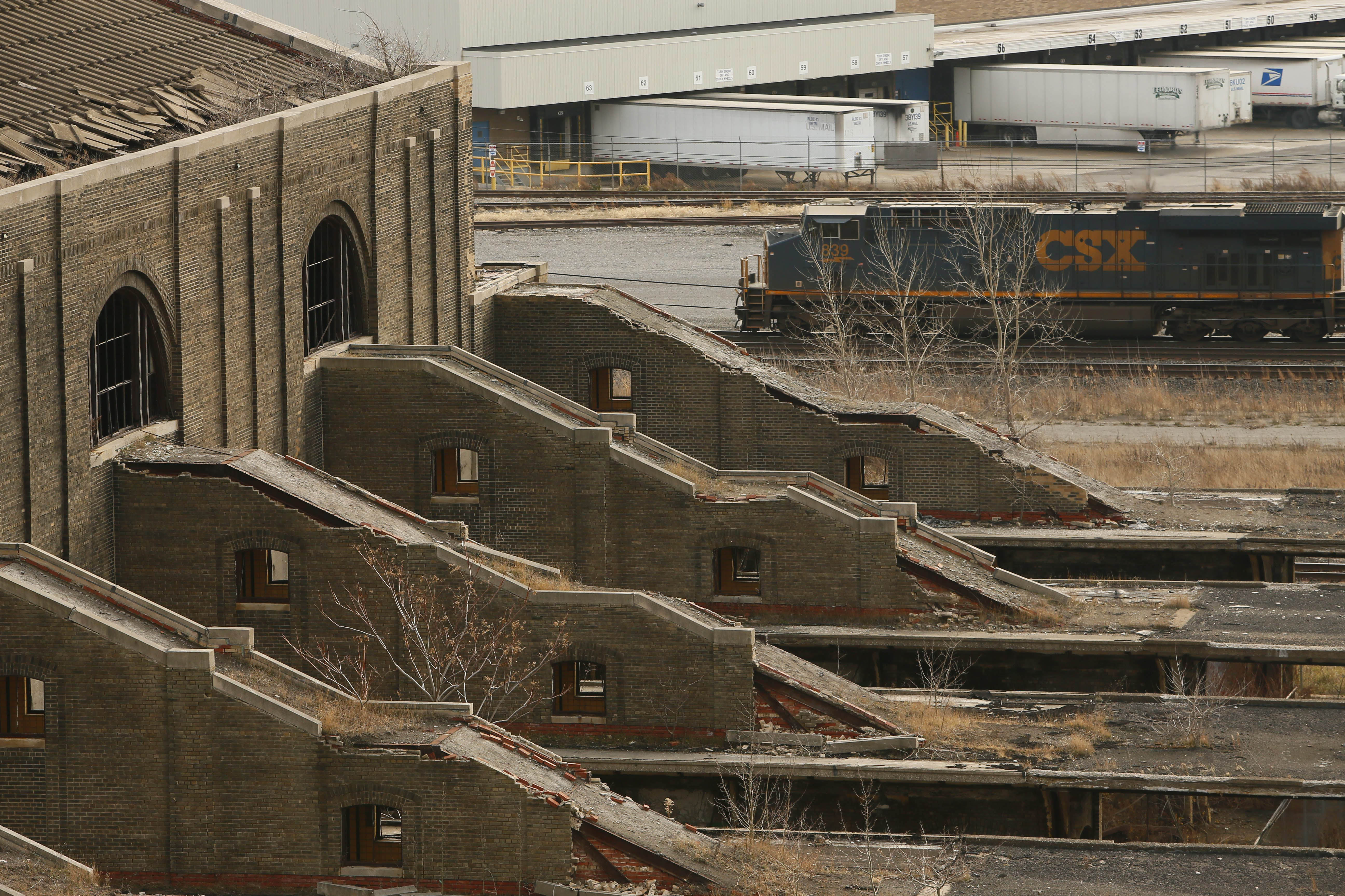 A CSX train passes by the old passenger platforms at Buffalo's Central Terminal. (Derek Gee/News file photo)