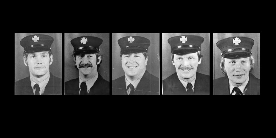 All members of Buffalo Fire Department Ladder 5, from left, firefighters Michael Austin, Michael Catanzaro, Matthew Colpoys, James C. Lickfeld and Anthony Waszkielewicz, died in a massive propane explosion on Dec. 27, 1983.