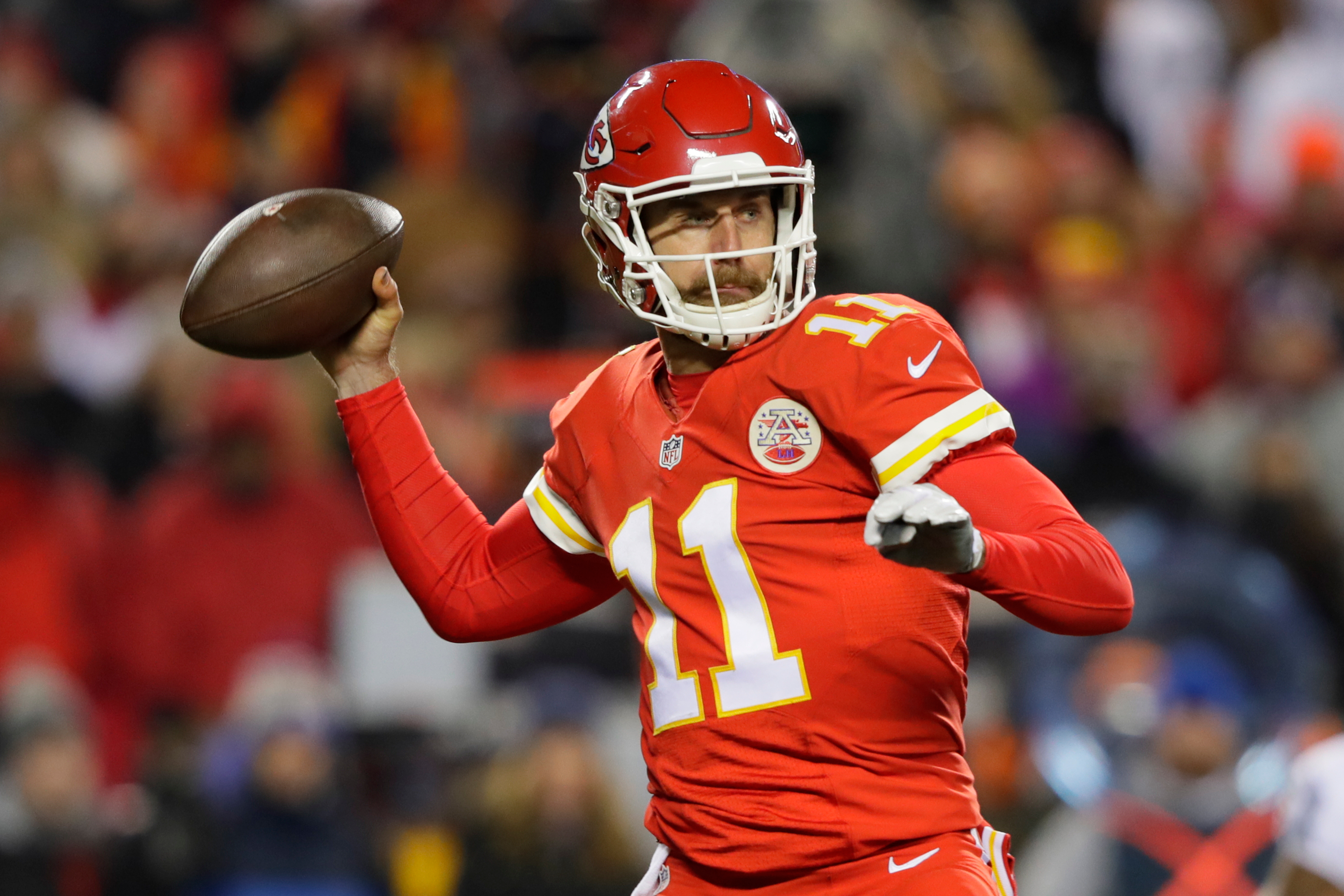 Alex Smith and the Chiefs picked up a huge win against the Raiders on Thursday night. (Getty Images)