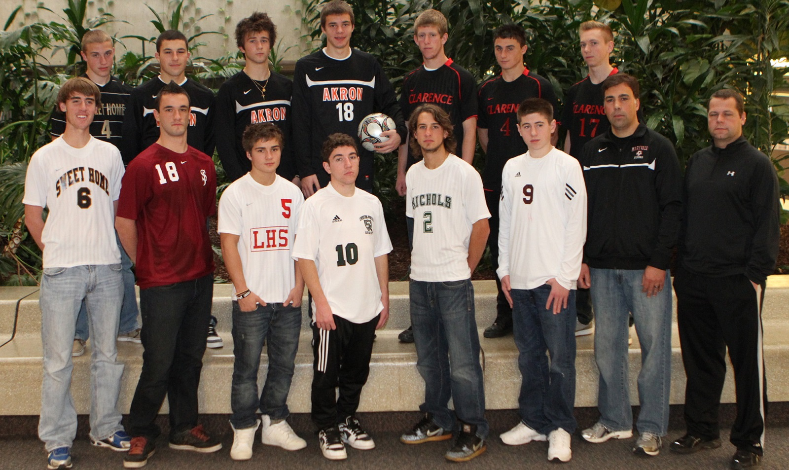 All-Western New York Boys Soccer, 2010. Front row, left to right: Connor Orrico -Sweet Home, Julian Olin -St. Joe's, P.J. Heist - Lancaster, Frankie Valente - Lew-Port, Chris Walter -Nichols, Shawn Powers - Maryvale, Coach of the Year Maryvale Tom Staebell, Referee of the Year Shane Magaris. Top Row: Liam Callahan - Sweet Home, Jaime Salcedo - Akron, Sam Torreli - Akron, Nathan Borchert - Akron, Ryan Schroen - Clarence, Derek Maier - Clarence, Chris Berardi - Clarence. (John Hickey/Buffalo News)